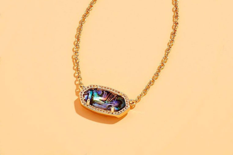 Kendra Scott Rose Gold and Abalone Shell Elisa Necklace