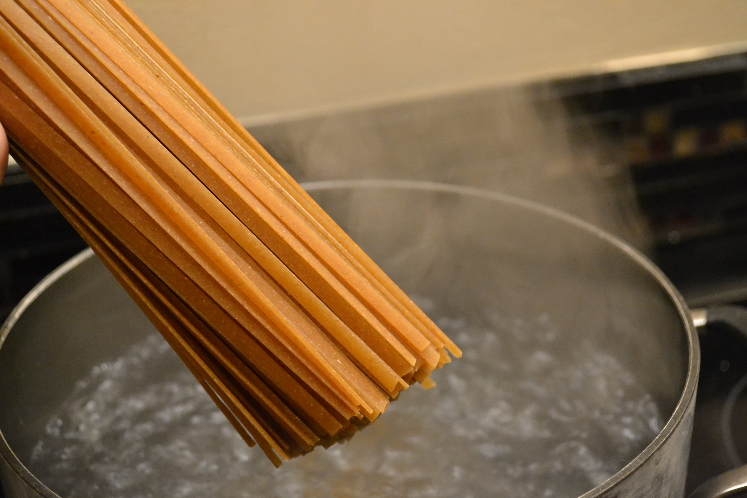 Whole Wheat Pasta into boiling water