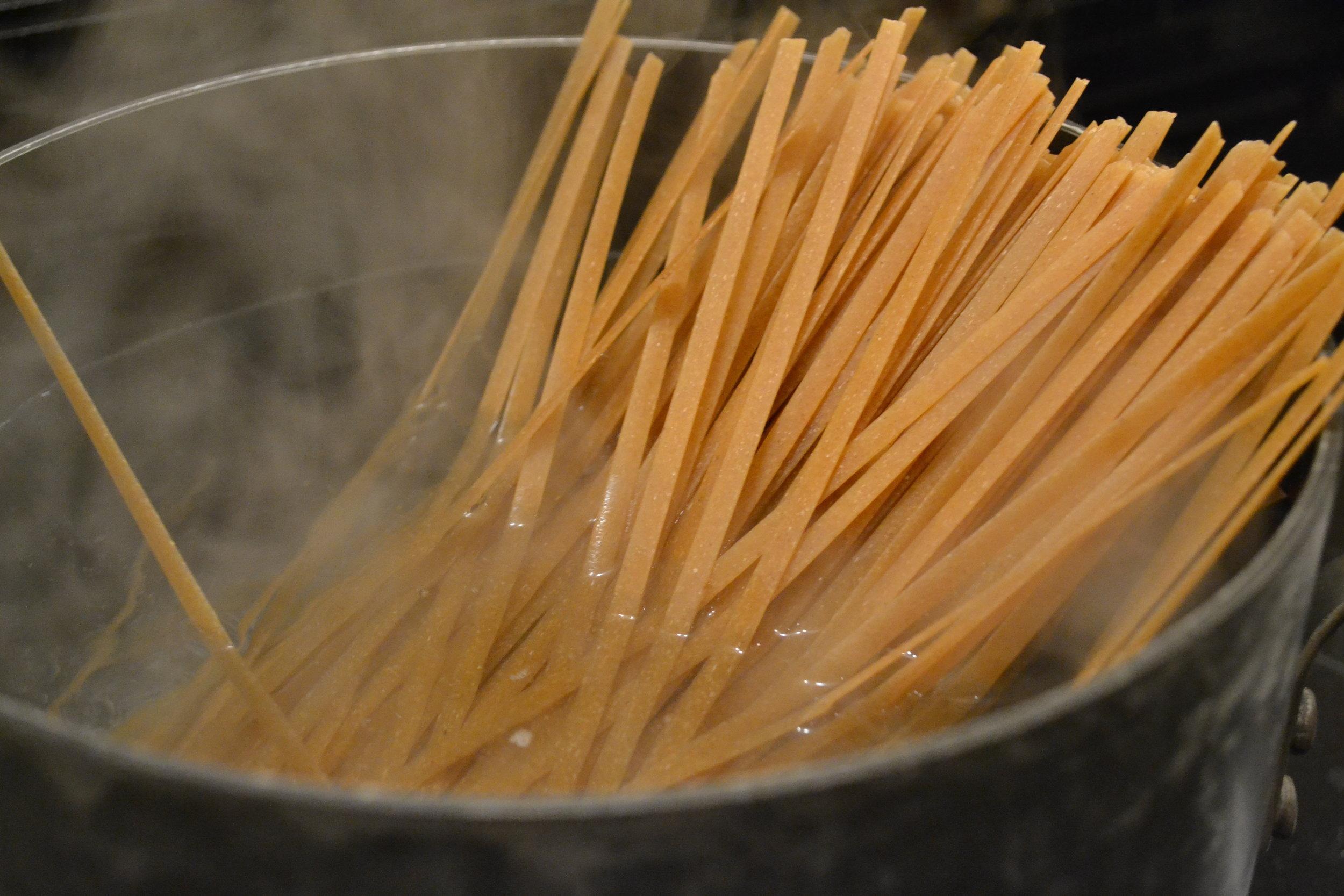 Boiling whole wheat fettuccine