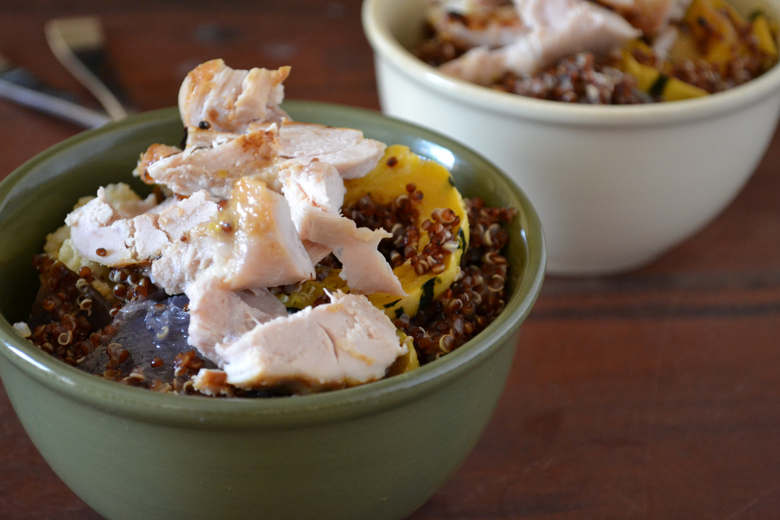 a bowl of red quinoa & veggies