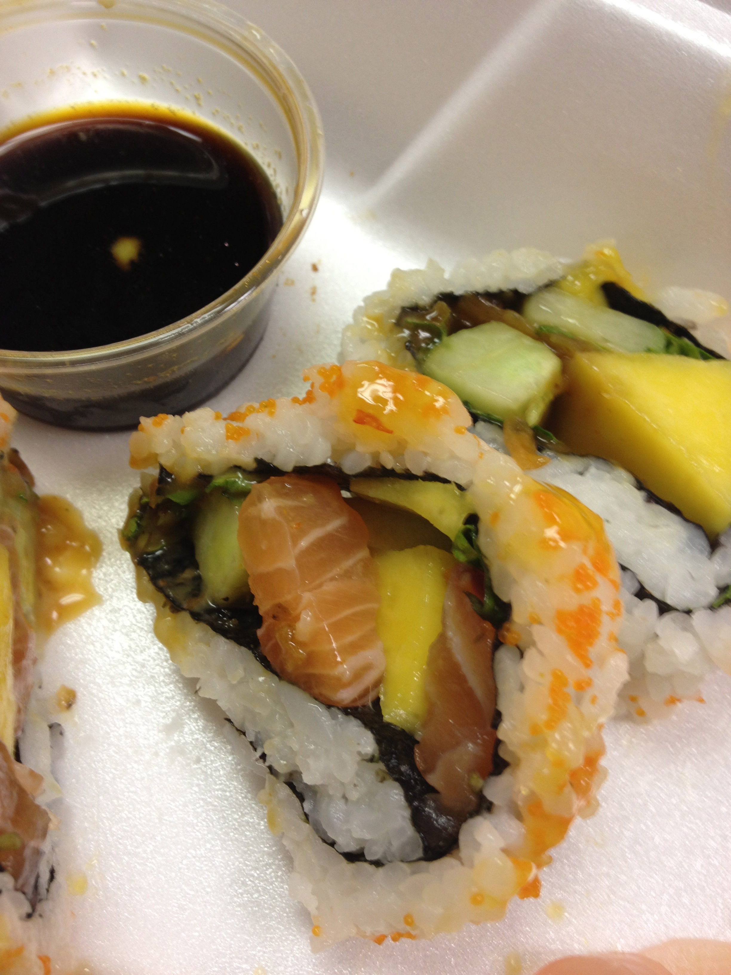 Piece of the Mango Salmon Roll at Andy's Sushi Bar
