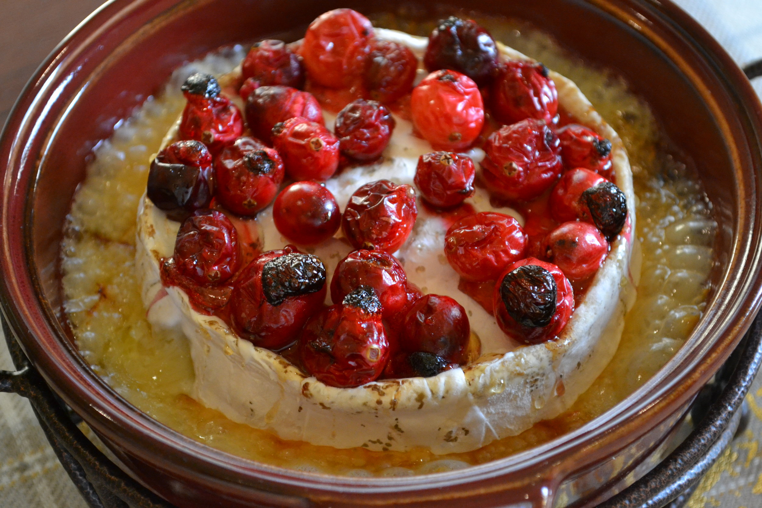 Cranberries and Honey over Blue Brie
