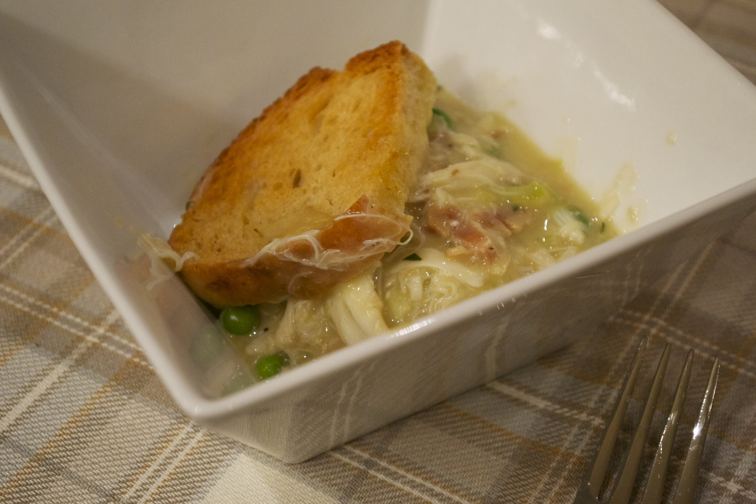 A bowlful of Crab, Bacon and Leek Potpie