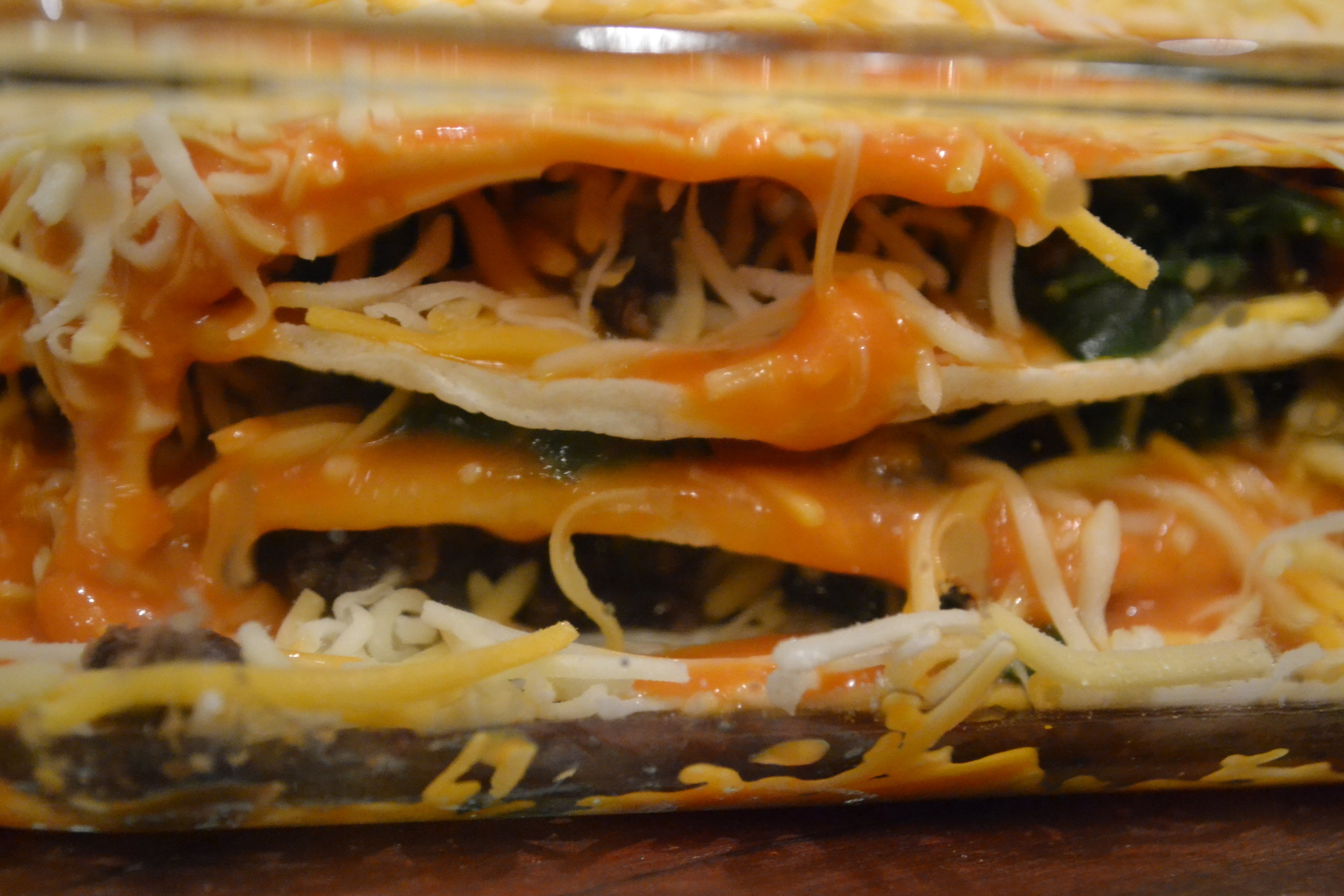 enchilada lasagna layers