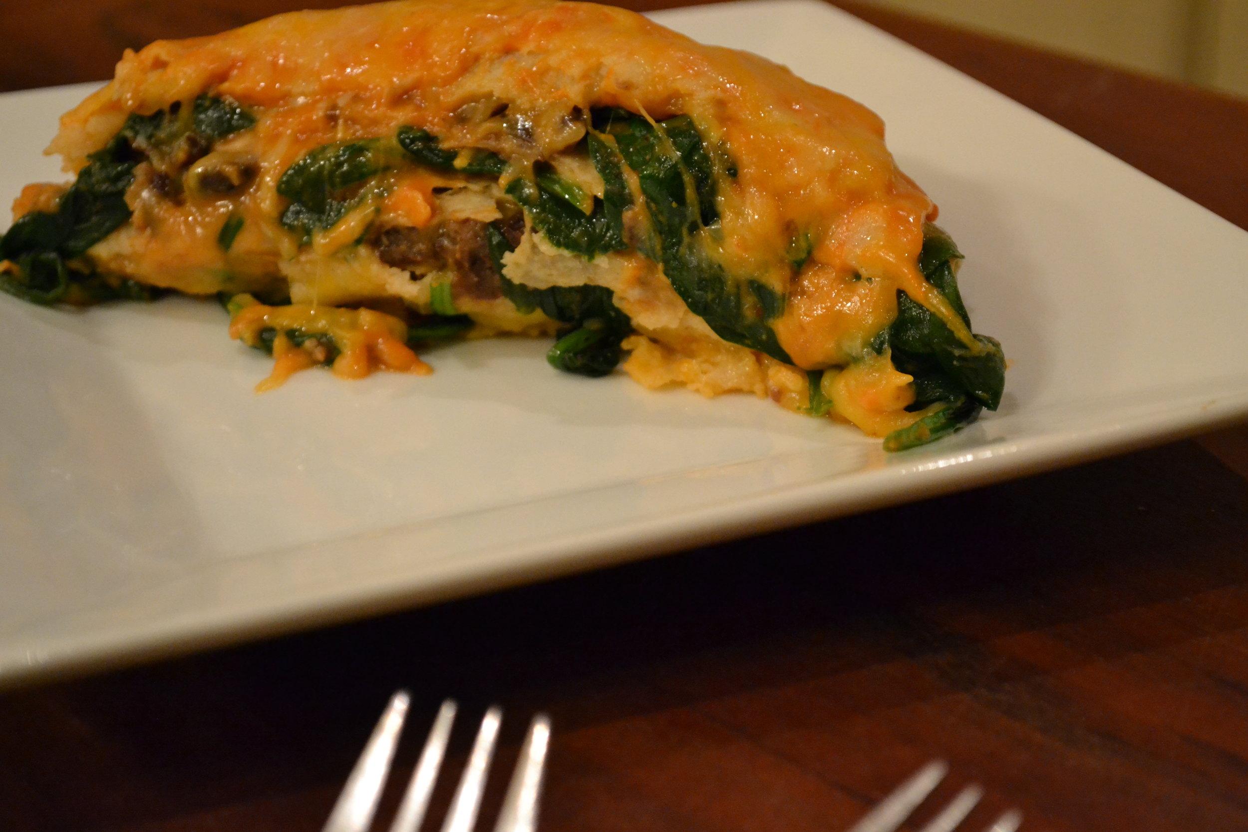 enchilada lasagna slice