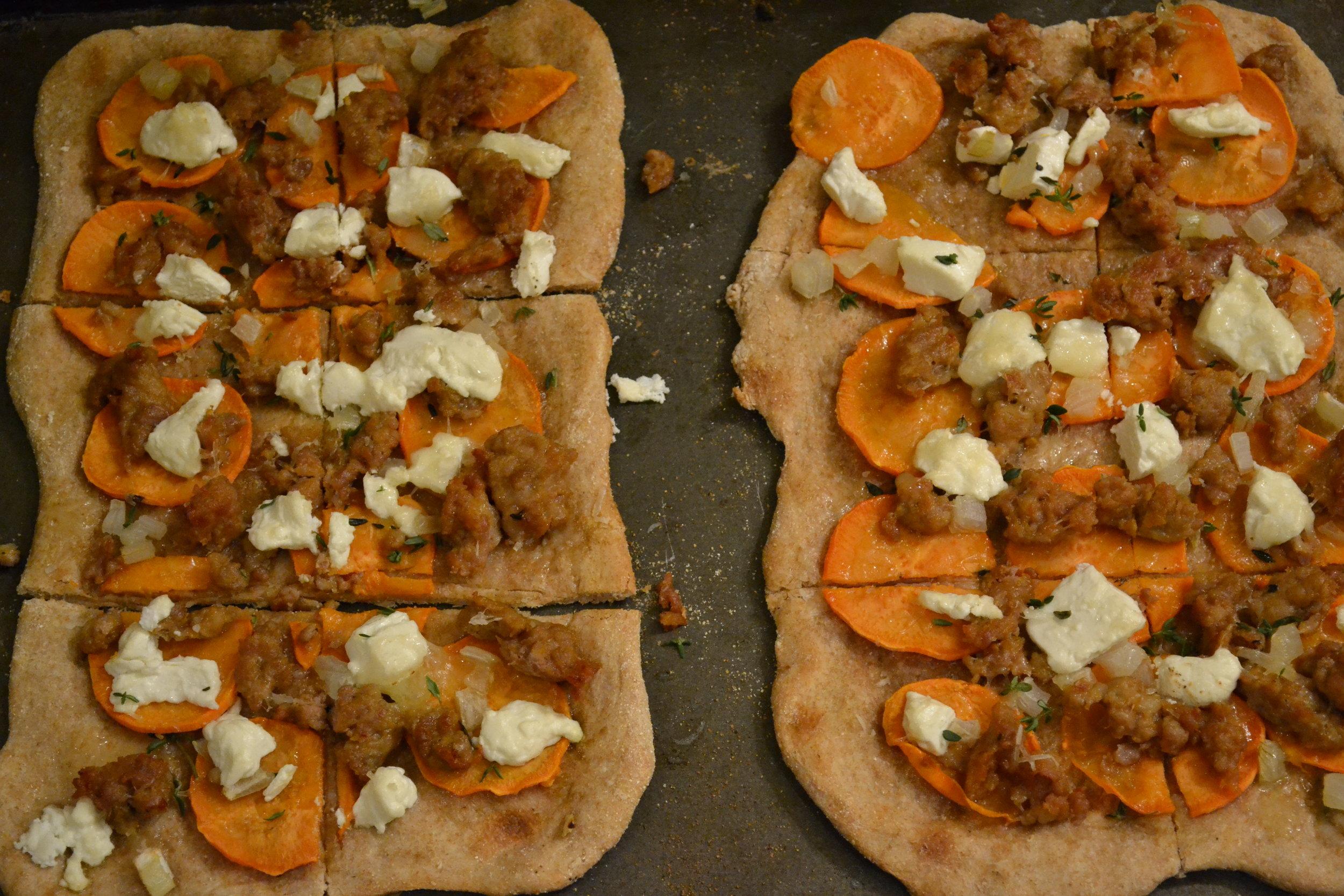 Two Sausage & Sweet Potato Pizzas