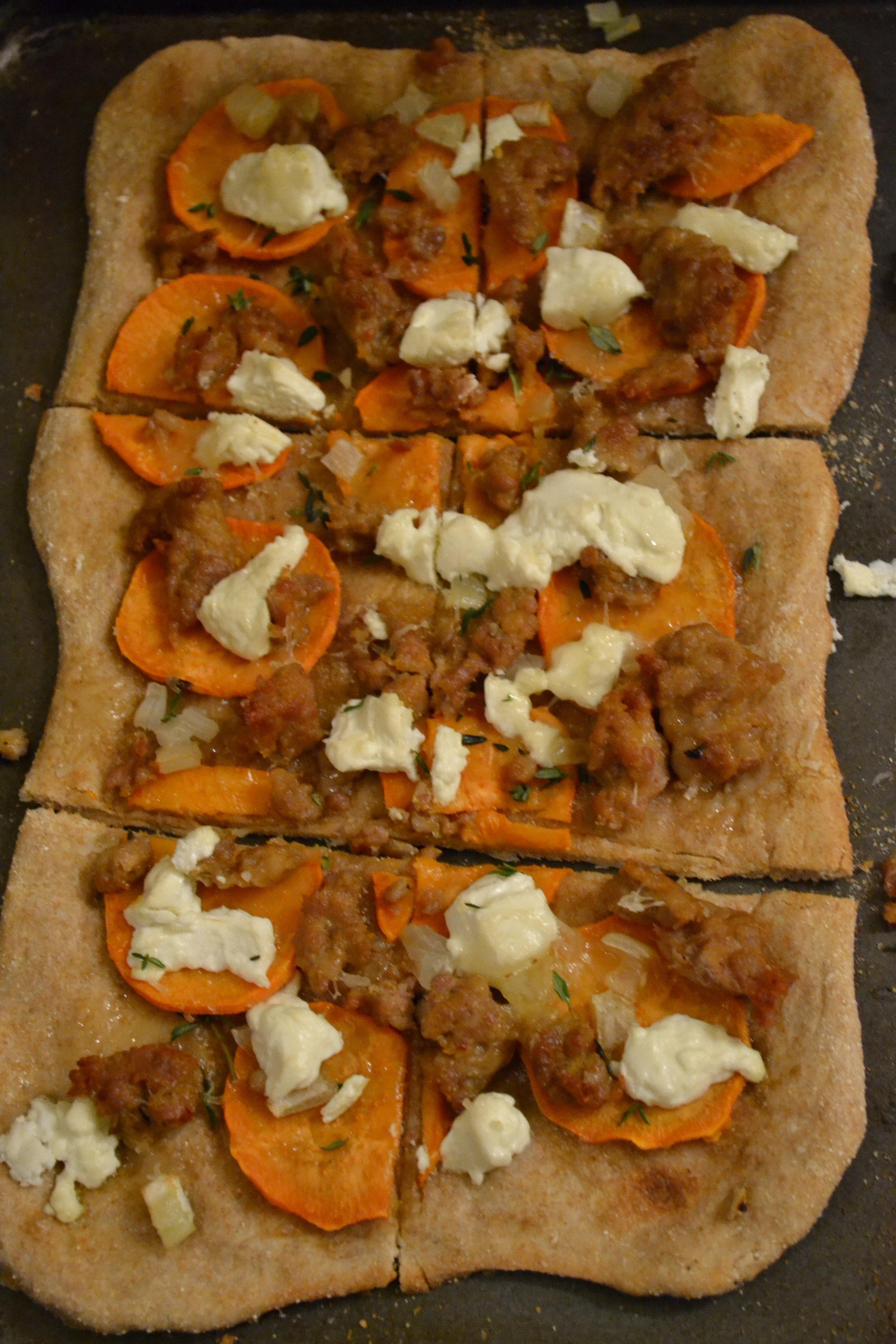 Sausage, Sweet Potato and Thyme Pizza