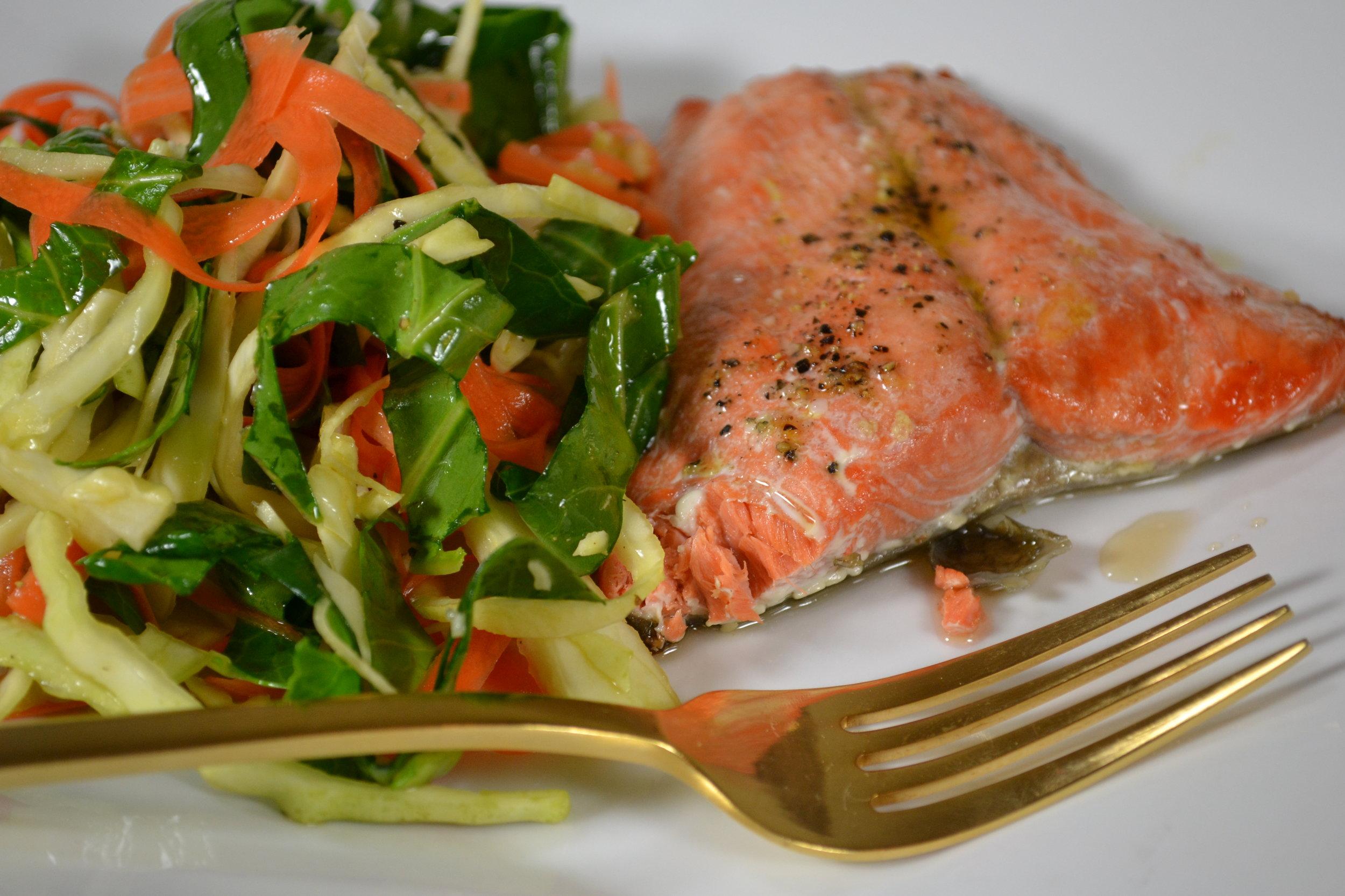 simple salmon and shredded salad