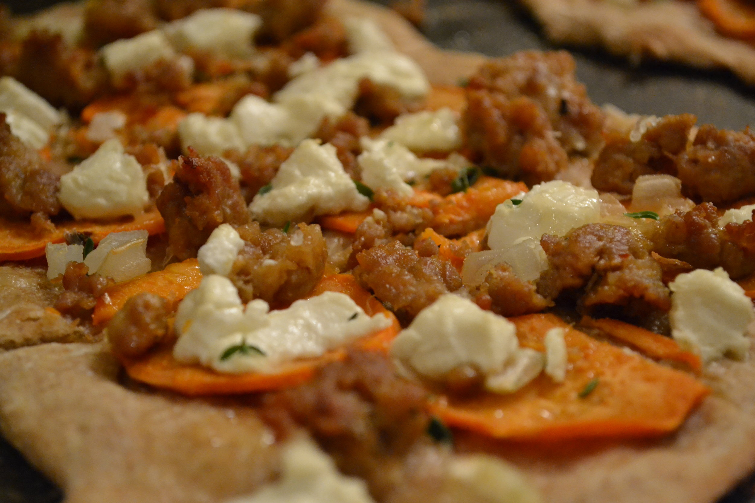 Sausage and Sweet Potato Pizza Up Close