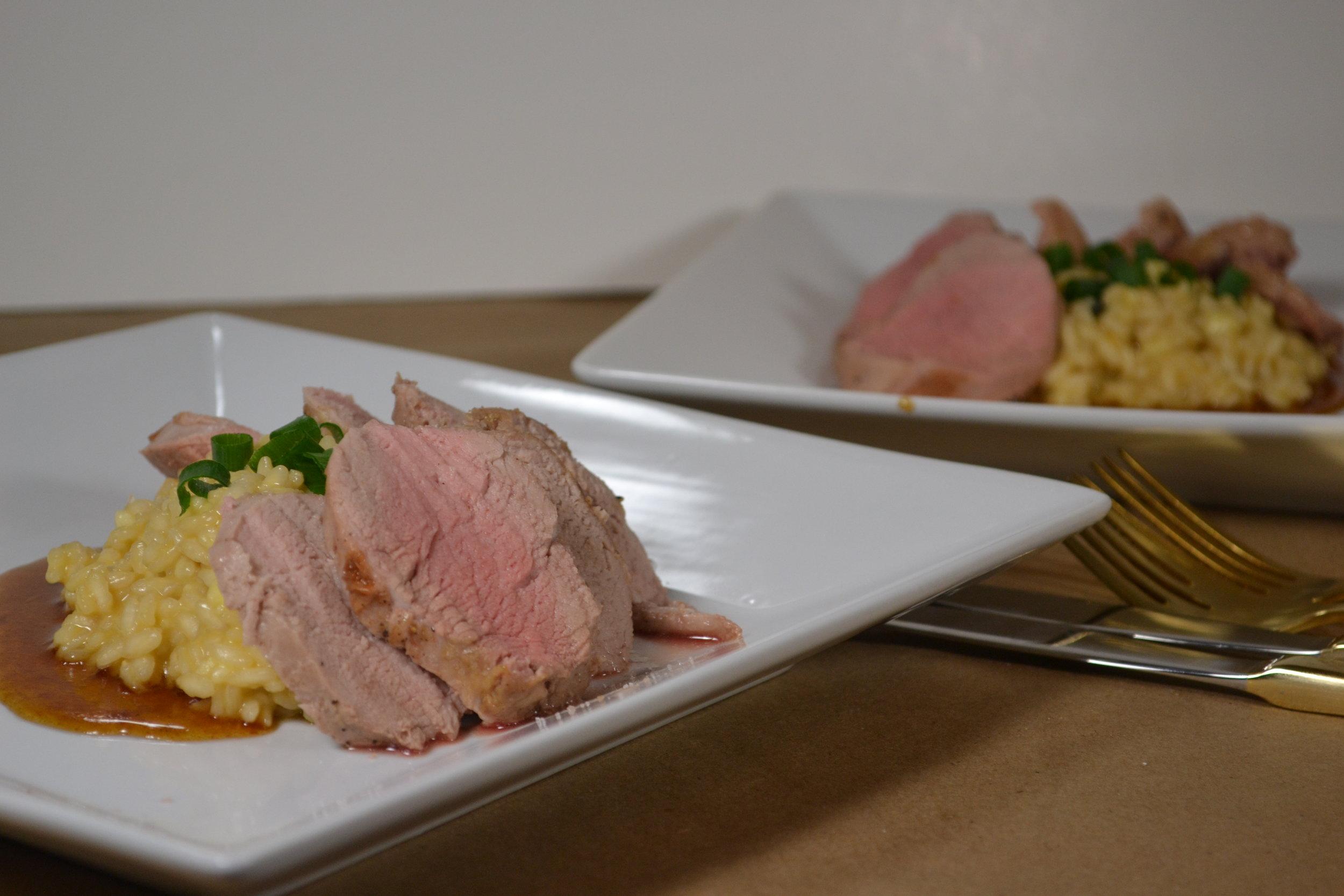 Pork Tenderloin & Brie Risotto for Two