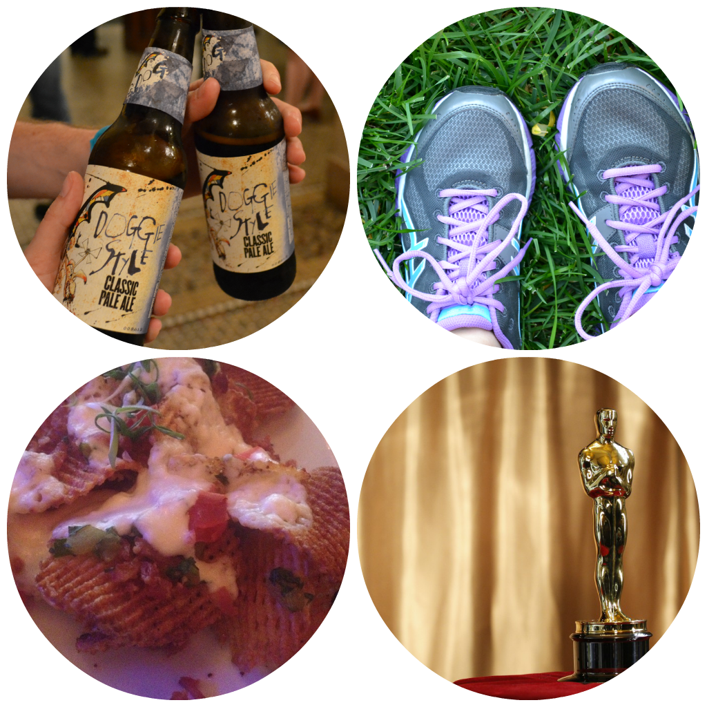 Flying Dog, running, potato chip nachos & oscar party