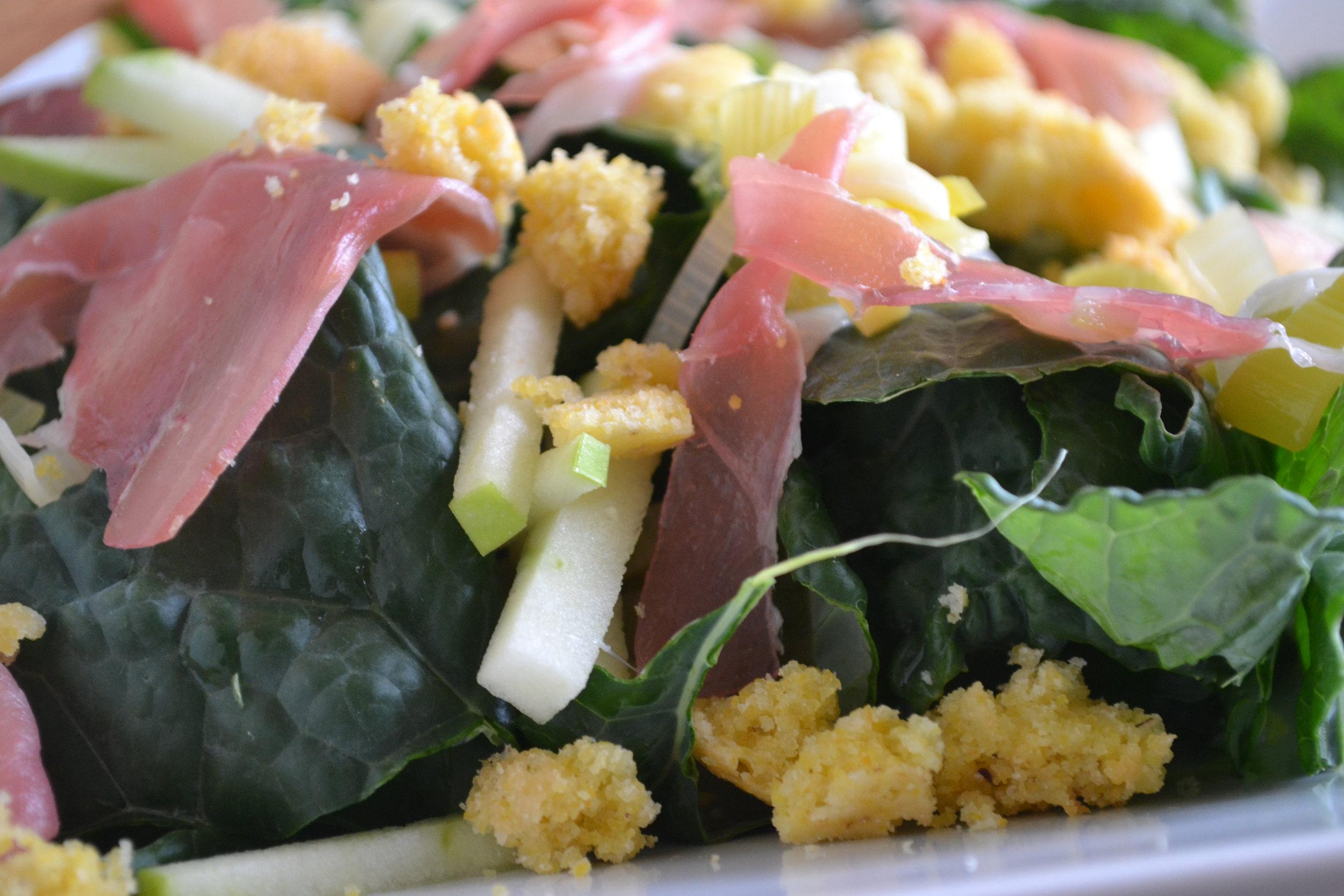 kale cornbread salad up close