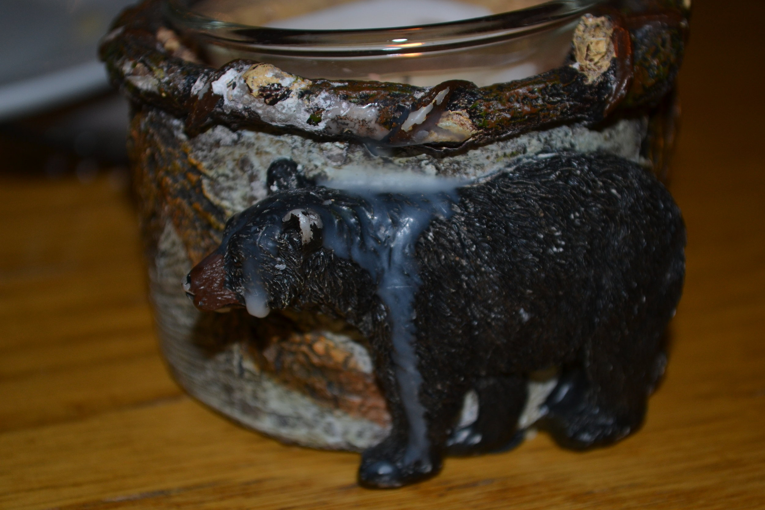 carved bear candle holder