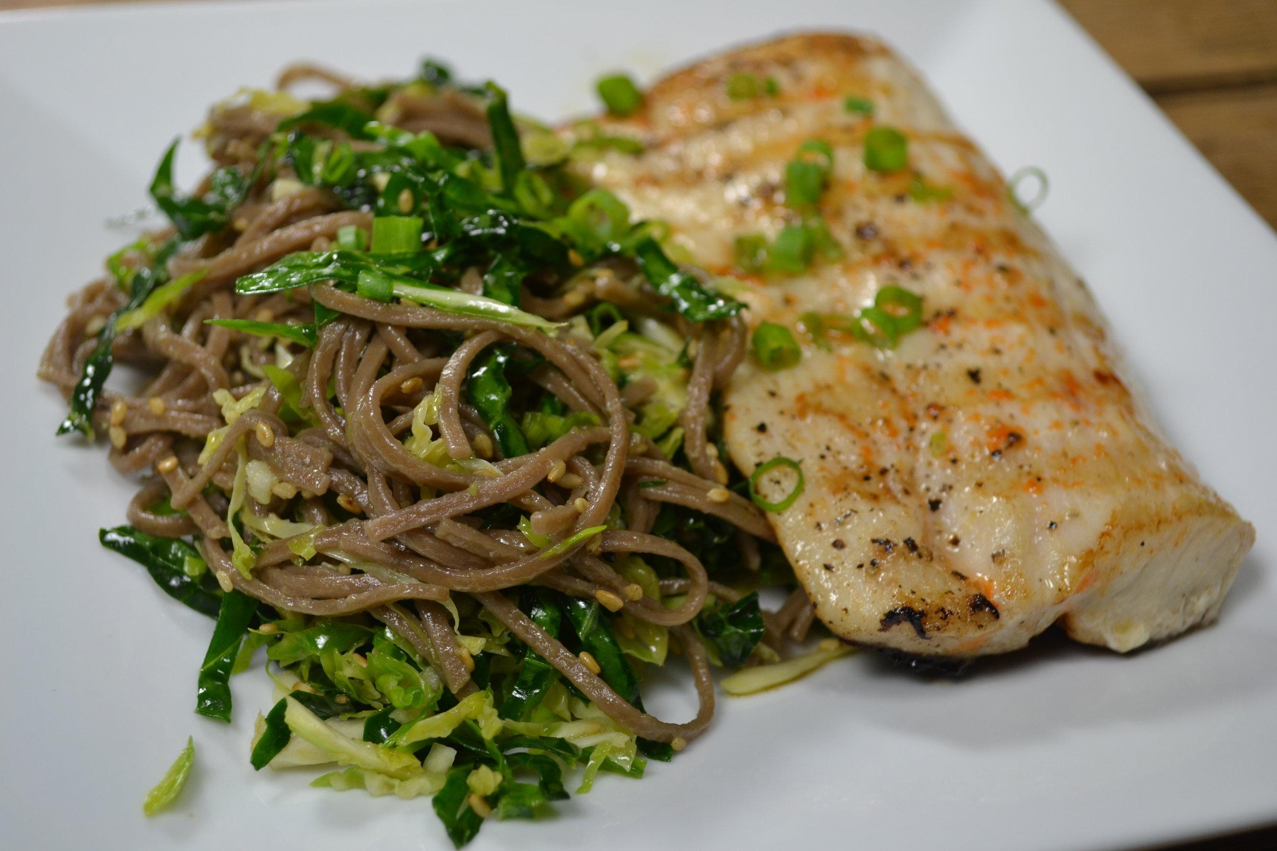 Kale, Brussels Sprout & Soba Noodle Salad