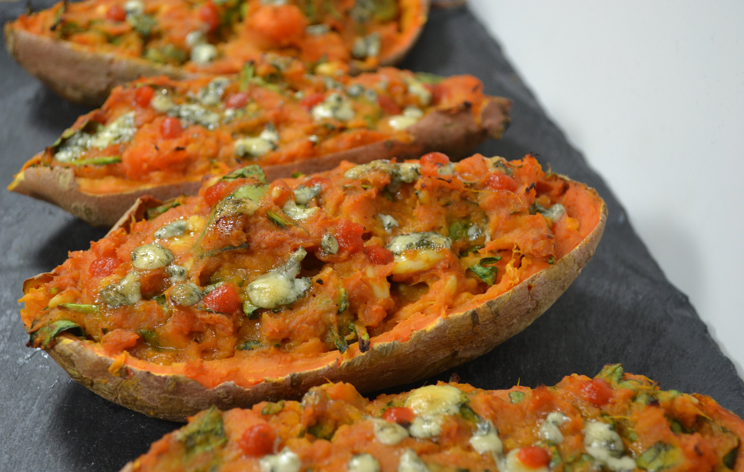 BBQ Blue Twice Baked Sweet Potatoes