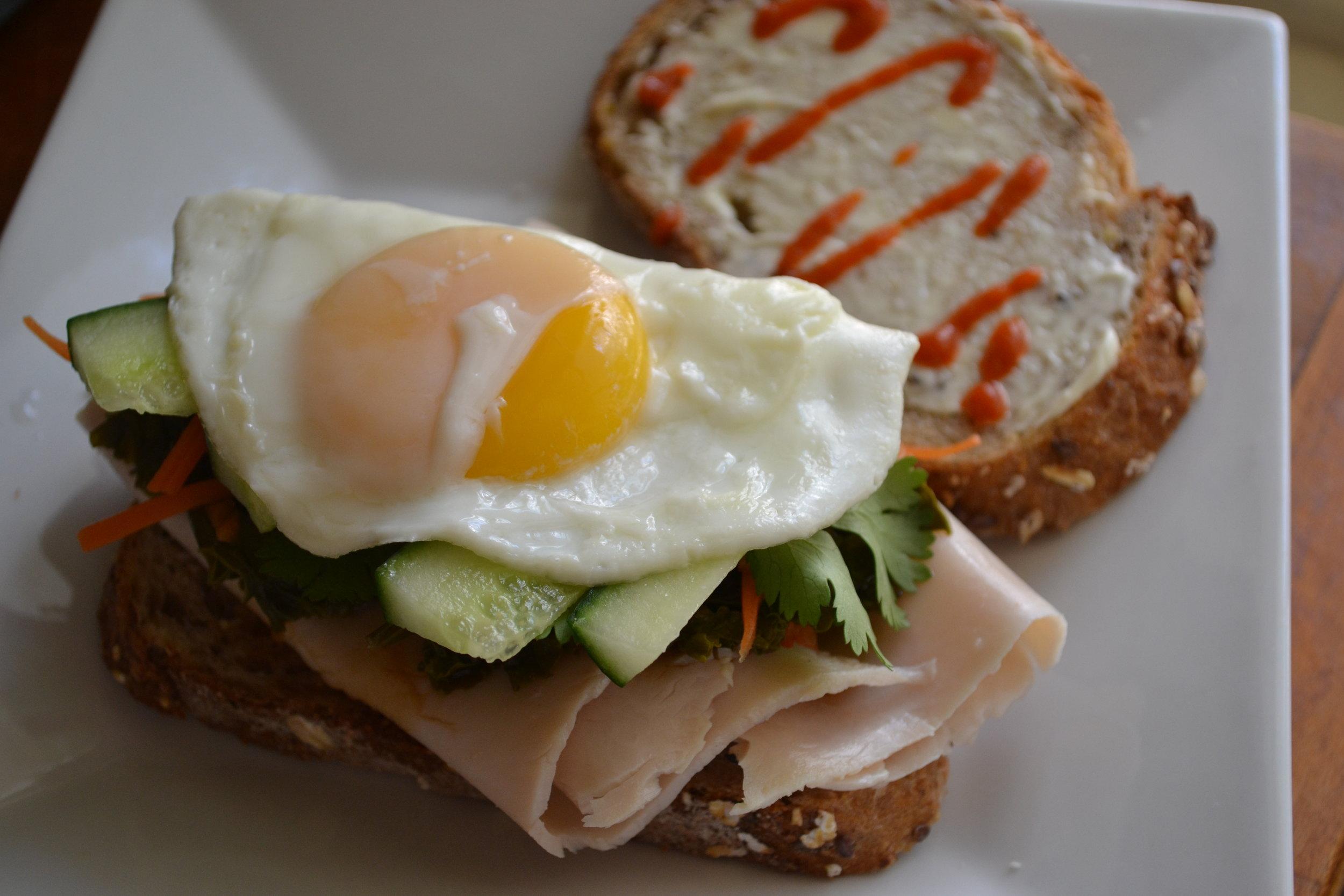 Open Turkey Kale Banh Mi Sandwich