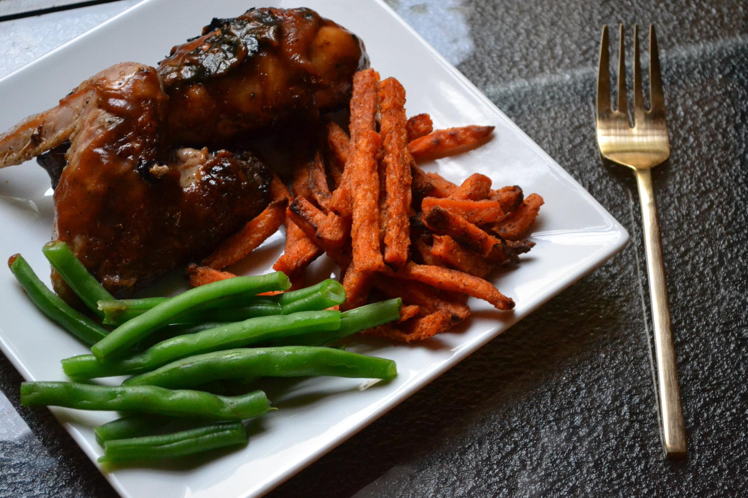 apple butter grilled chicken dinner plate