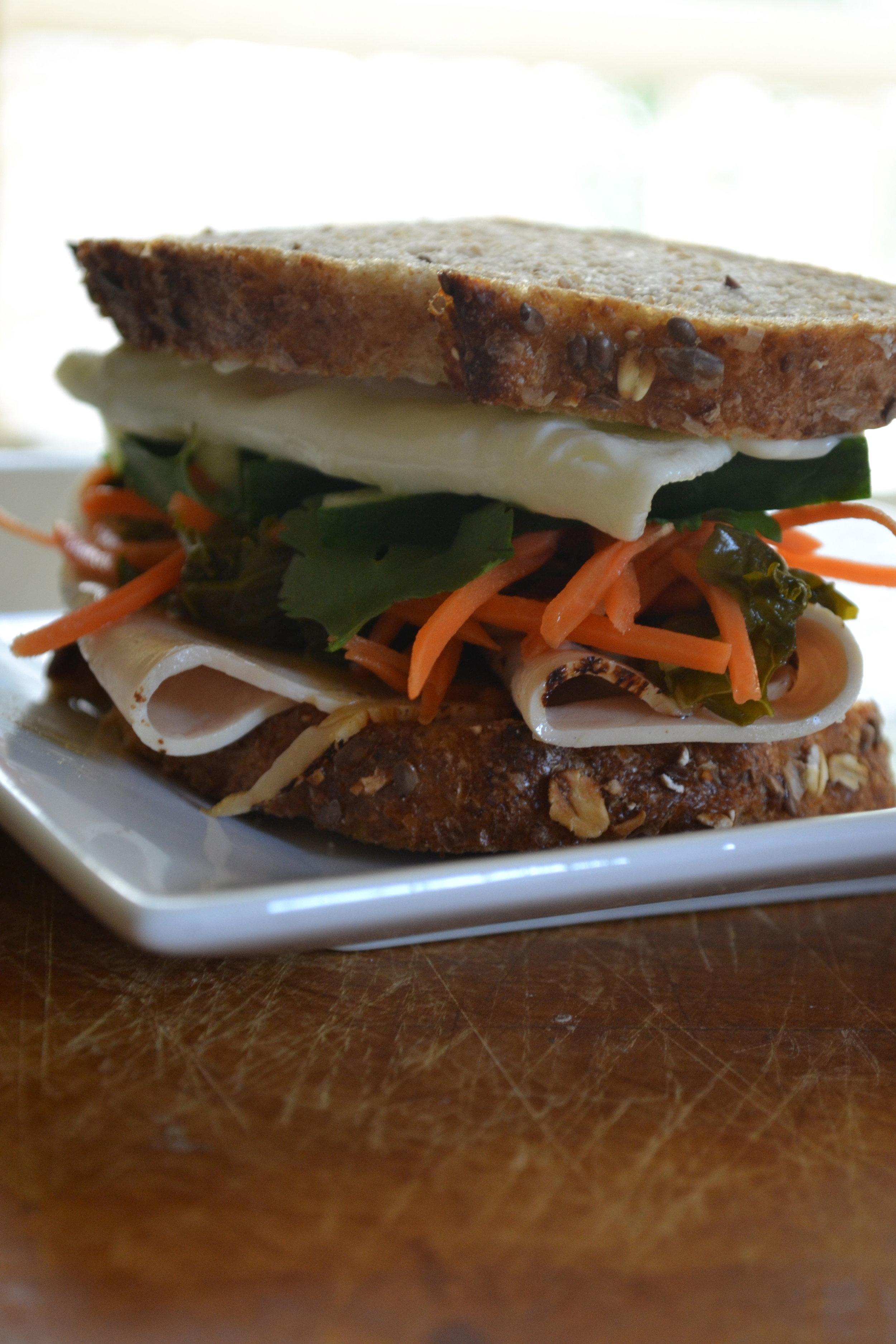 Stacked Turkey Kale Banh Mi Sandwich