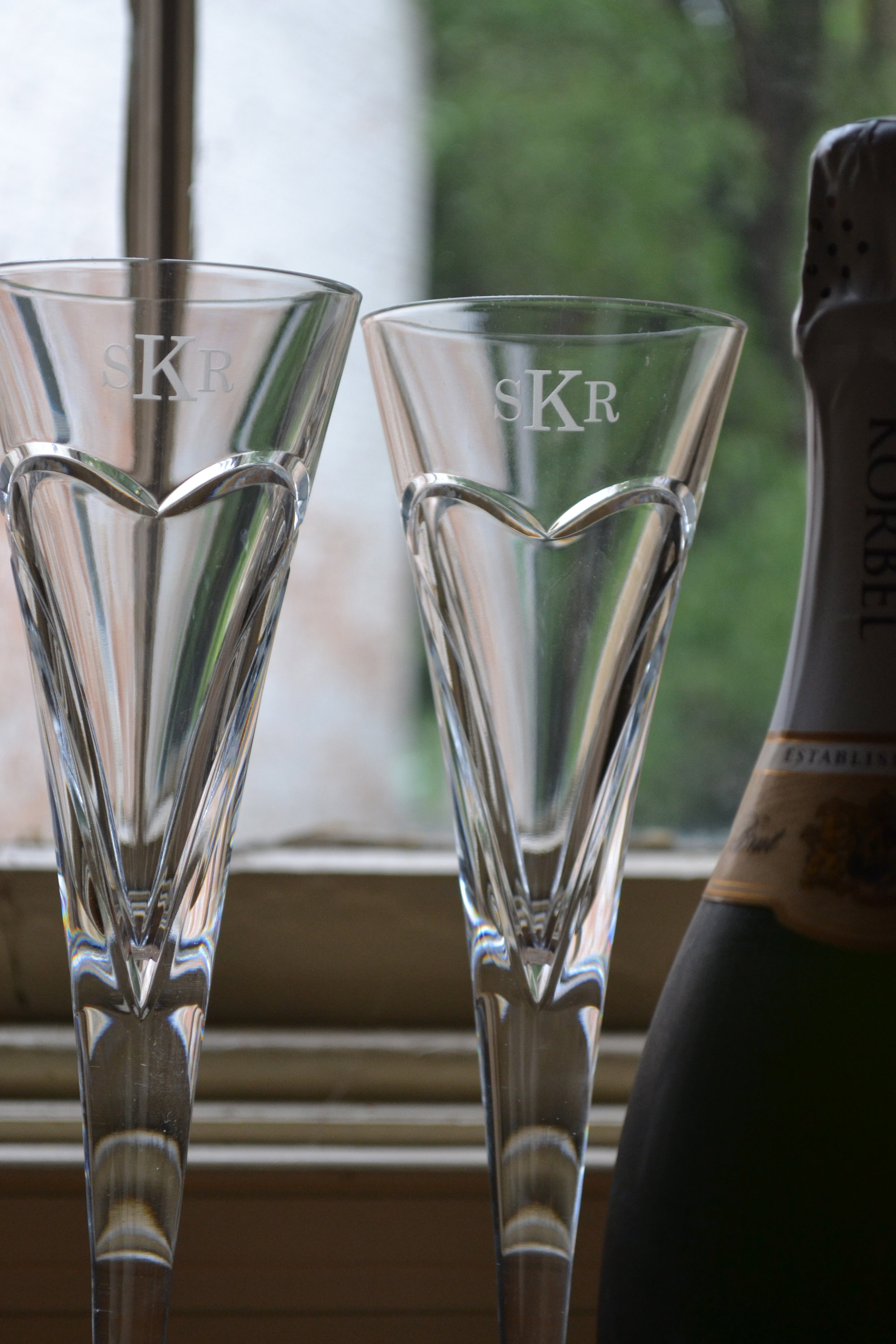 monogram champagne flutes