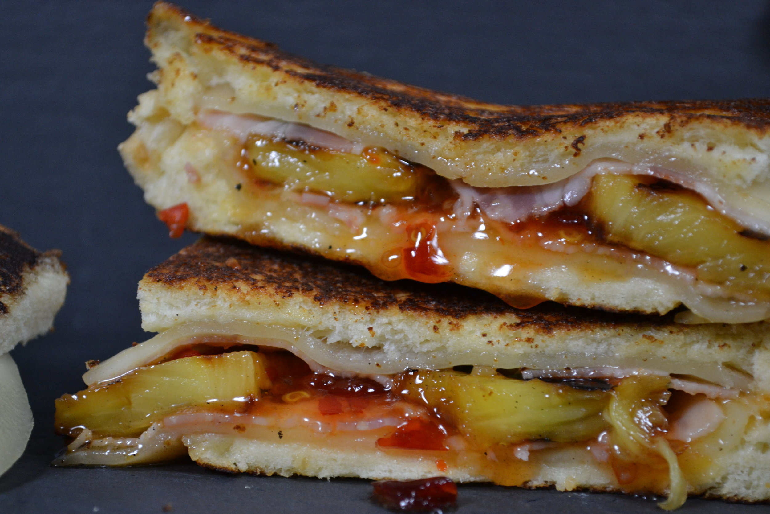 ham, pineapple & sweet chili grilled cheese stack