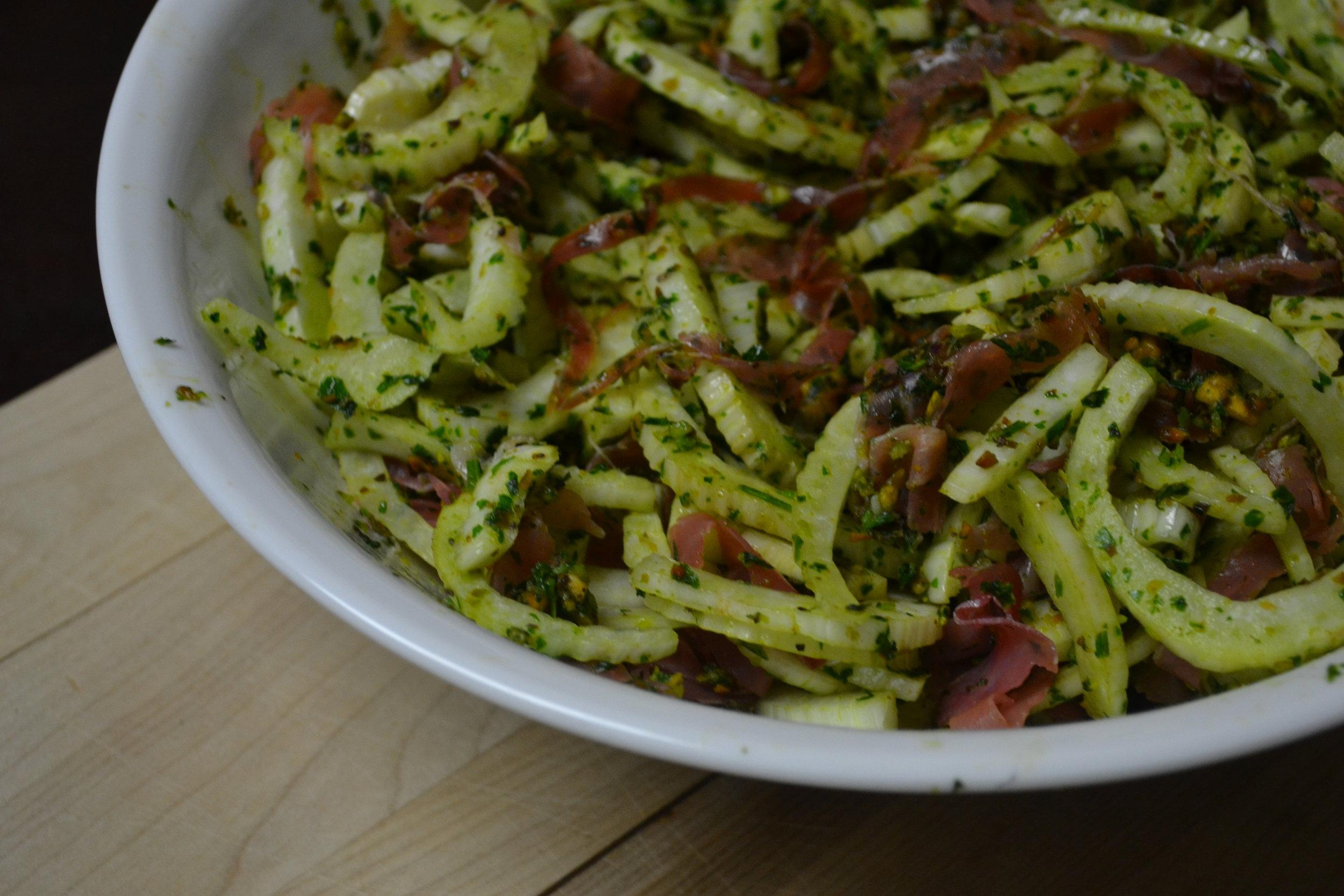 Fennel slaw with pistachio pesto and proscuitto