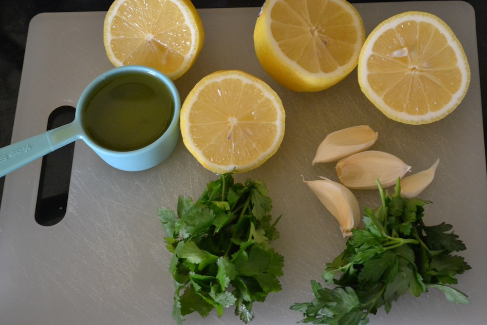raw chimichurri ingredients