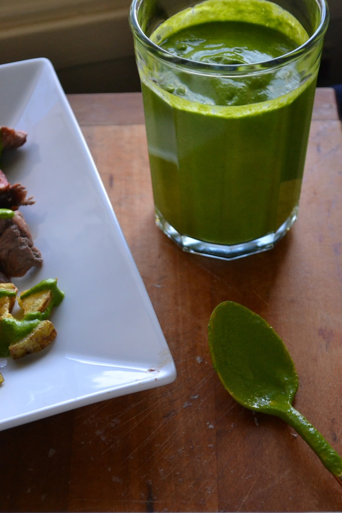 raw chimichurri sauce