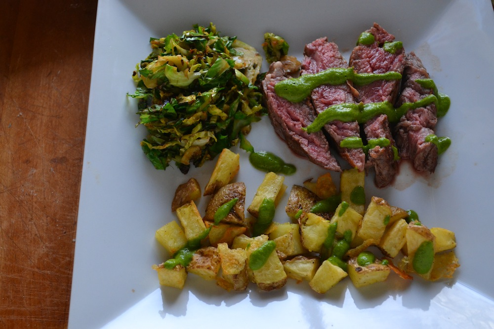 steak, potatoes and green things