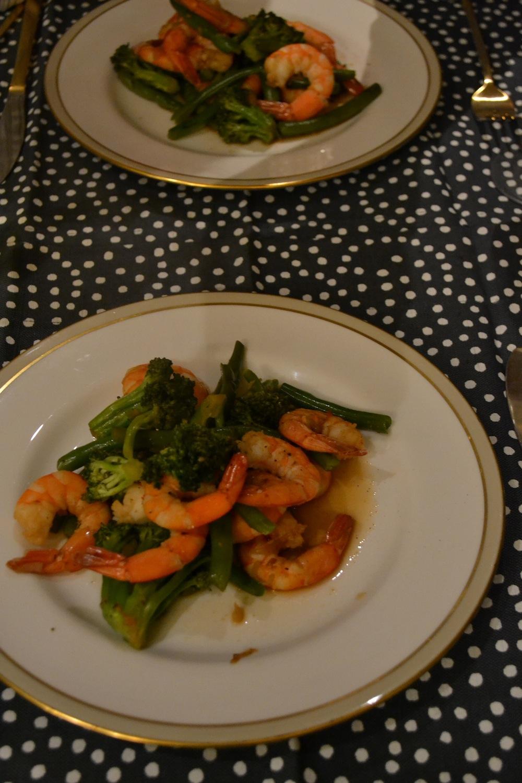 simple shrimp stir fry & china