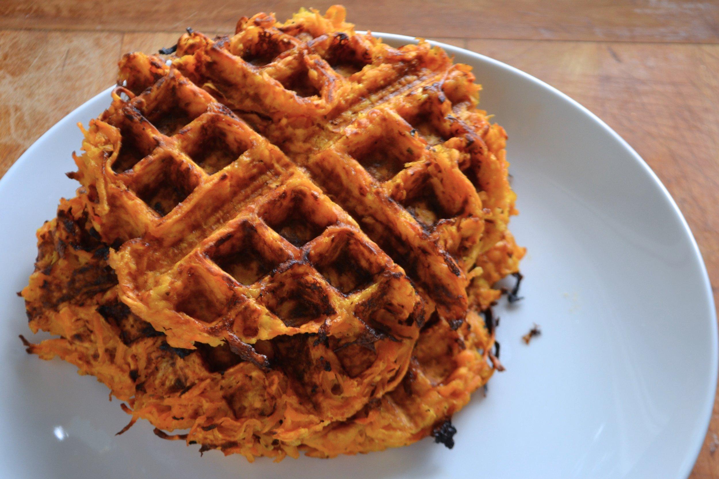 Sweet Potato Latke Waffle Stack