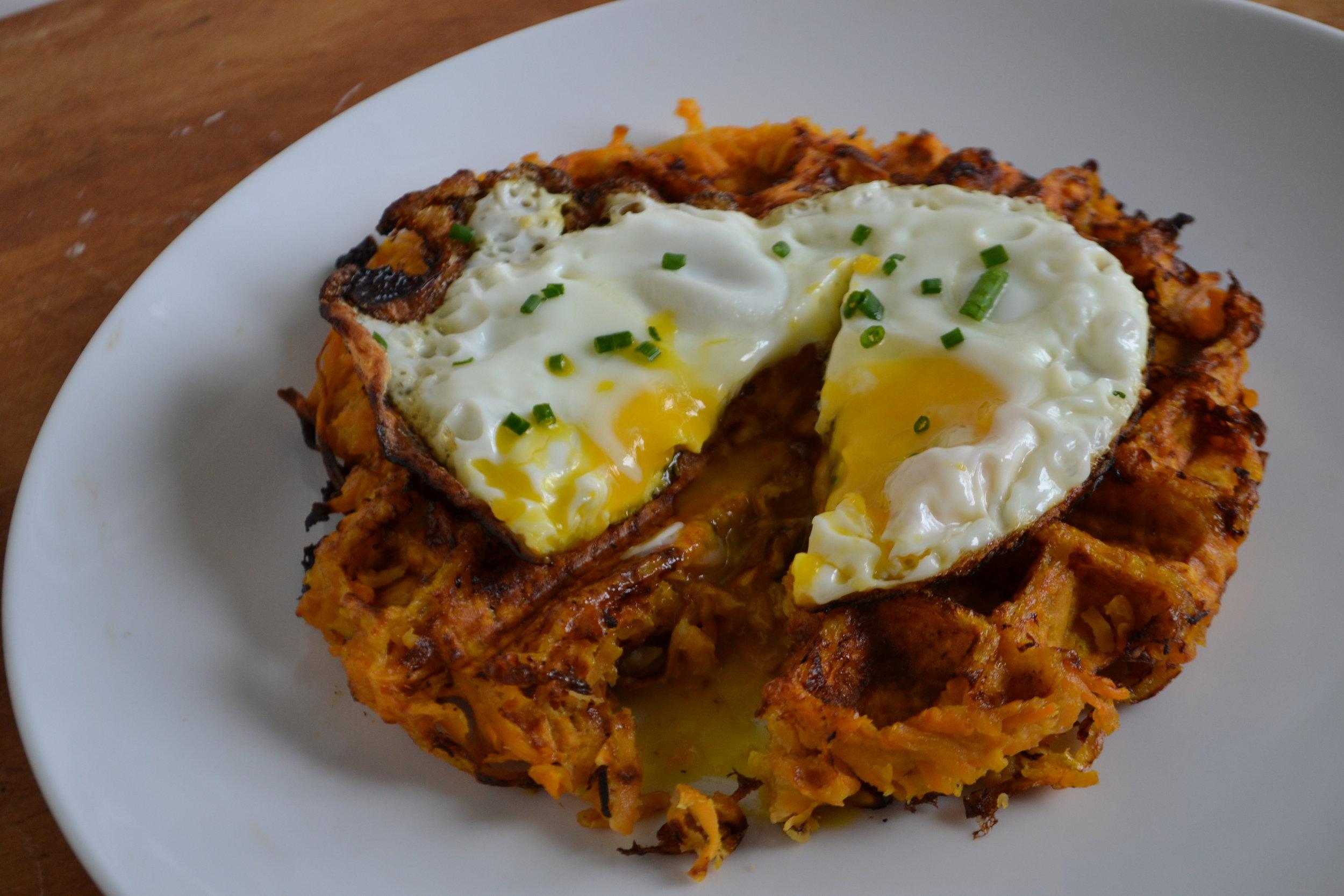 Sweet Potato Latke Waffle with Fried Egg