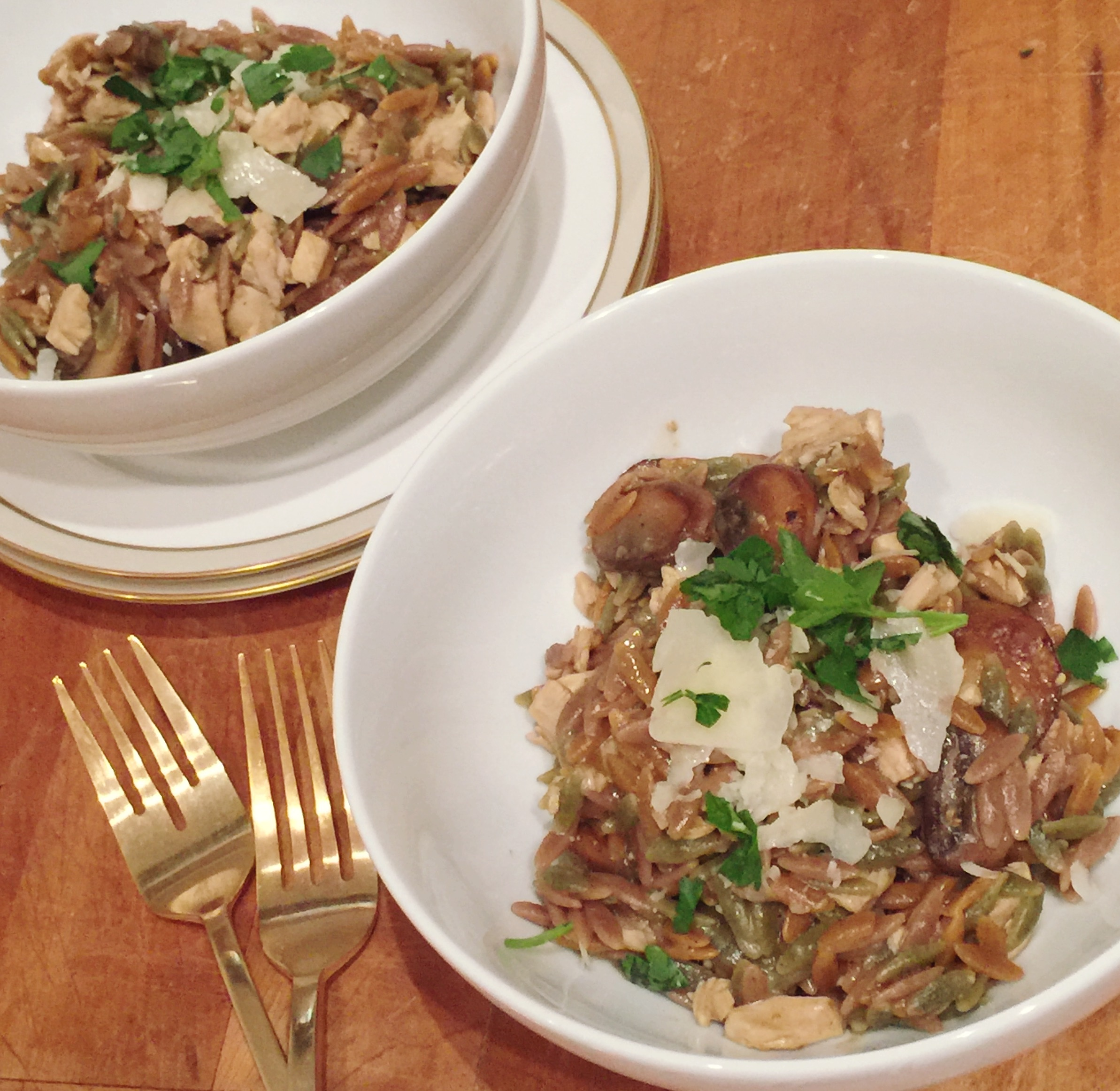 Turkey and Mushroom Risotto for Two