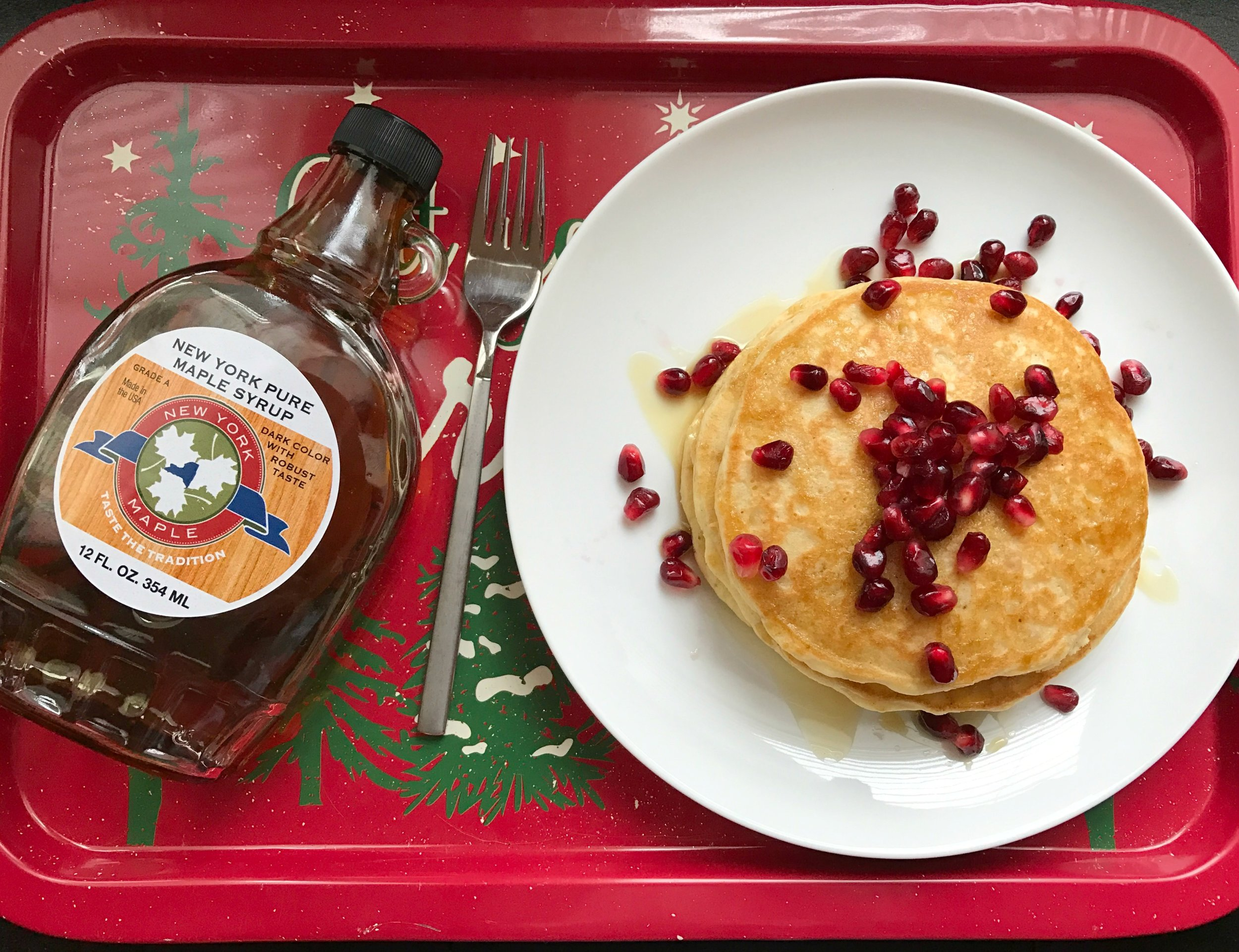 Eggnog pancakes on tray