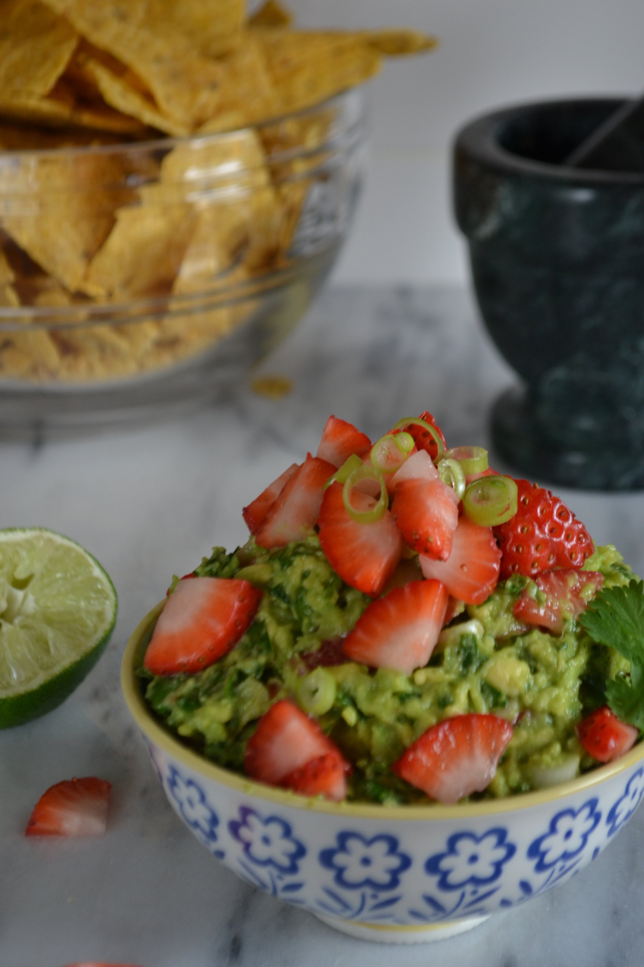 Strawberry Spinach Guacamole perfect for Spring | BySarahRae.com