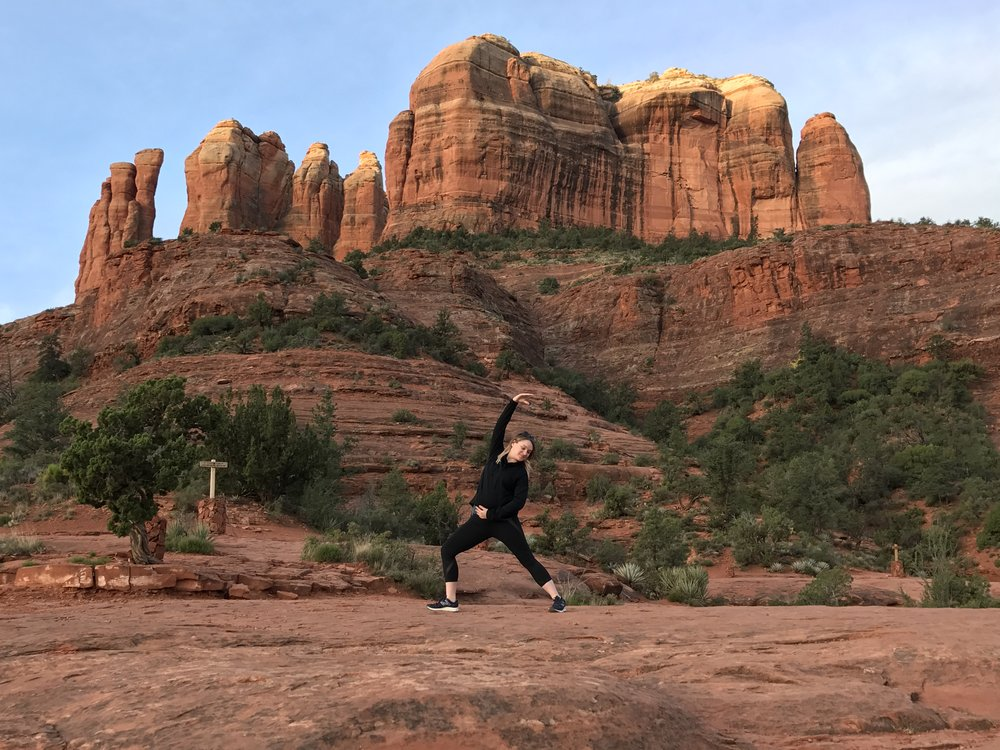 Reverse Warrior on Cathedral Rock | Sedona Babymoon Itinerary | BySarahRae.com