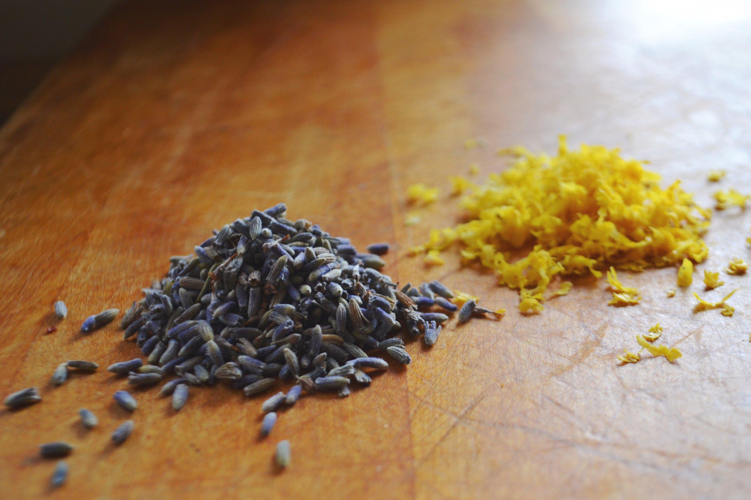 lavender and lemon zest sprinkles for Easter Sunday cinnamon rolls