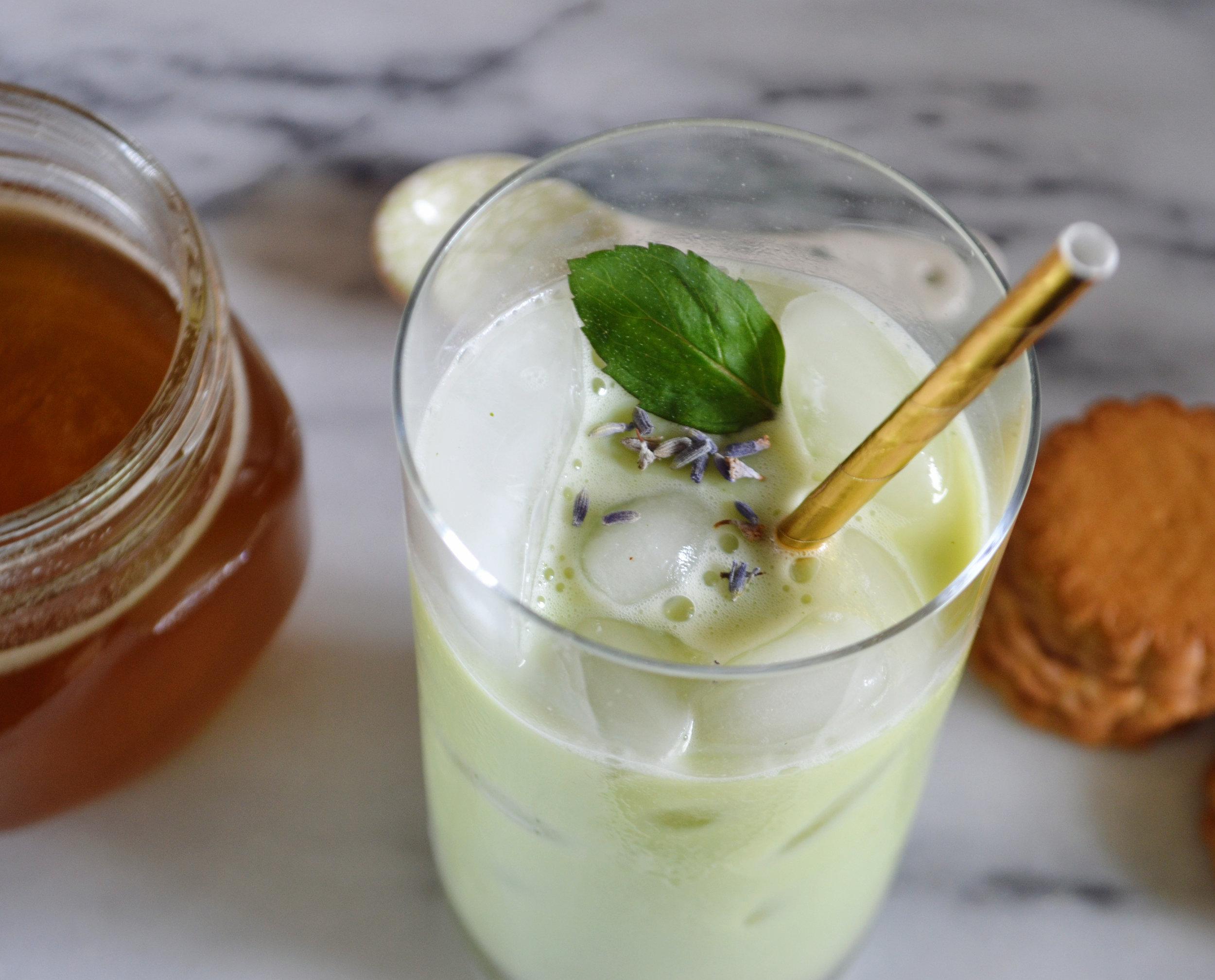 Iced Lavender Mint Matcha Latte 3 | Cooling Summer Drinks | BySarahRae.com