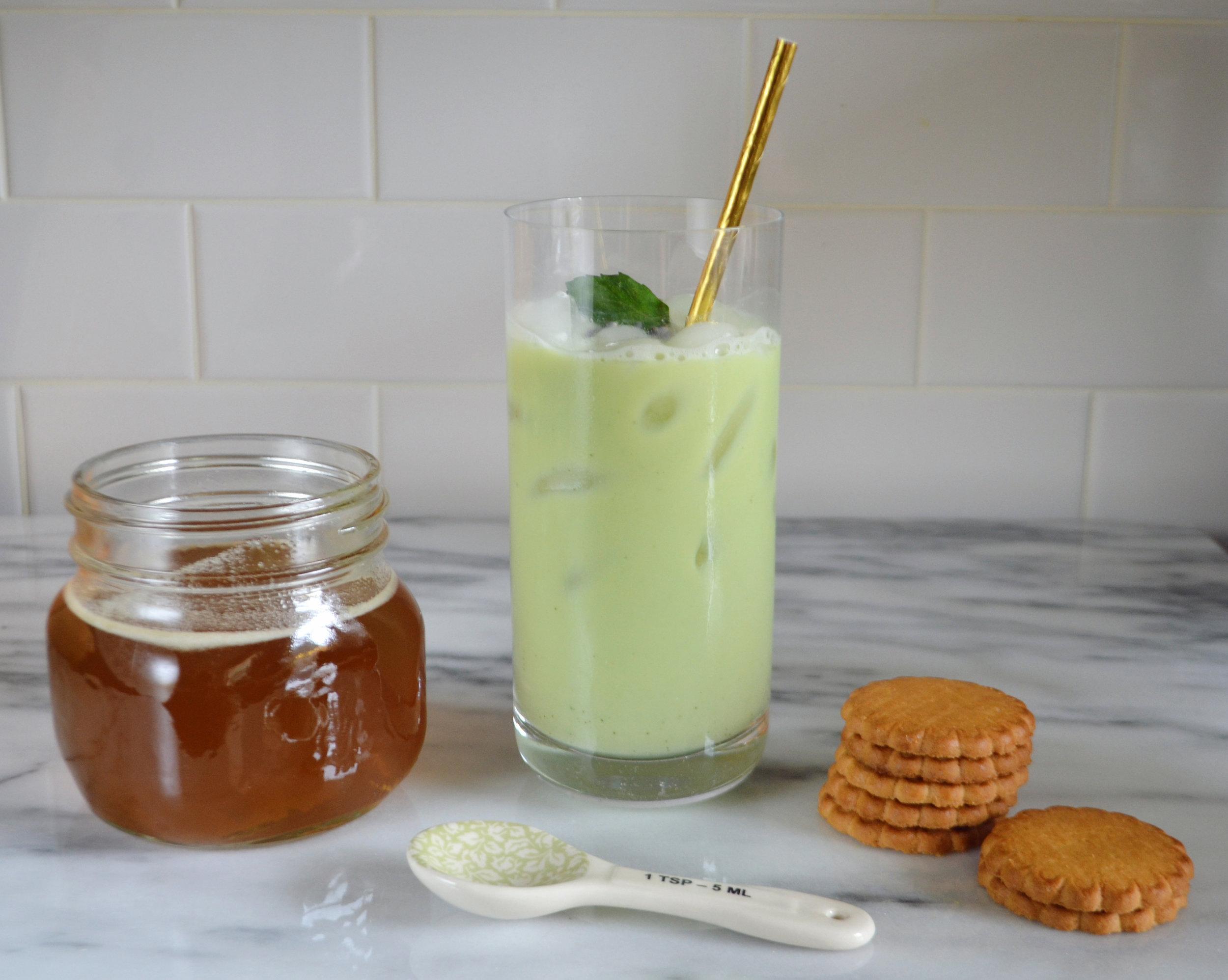 Iced Lavender Mint Matcha Latte 4 | Cooling Summer Drinks | BySarahRae.com