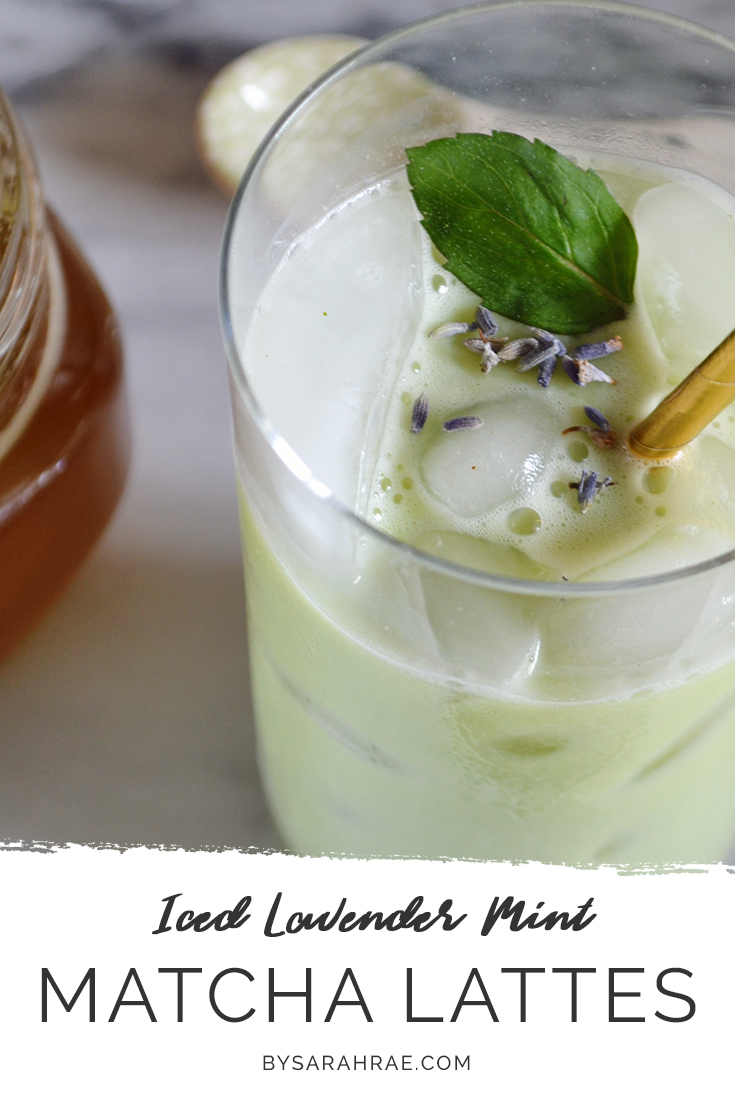 Iced Lavender Mint Matcha Lattes Pinterest | Cooling Summer Drink | BySarahRae.com