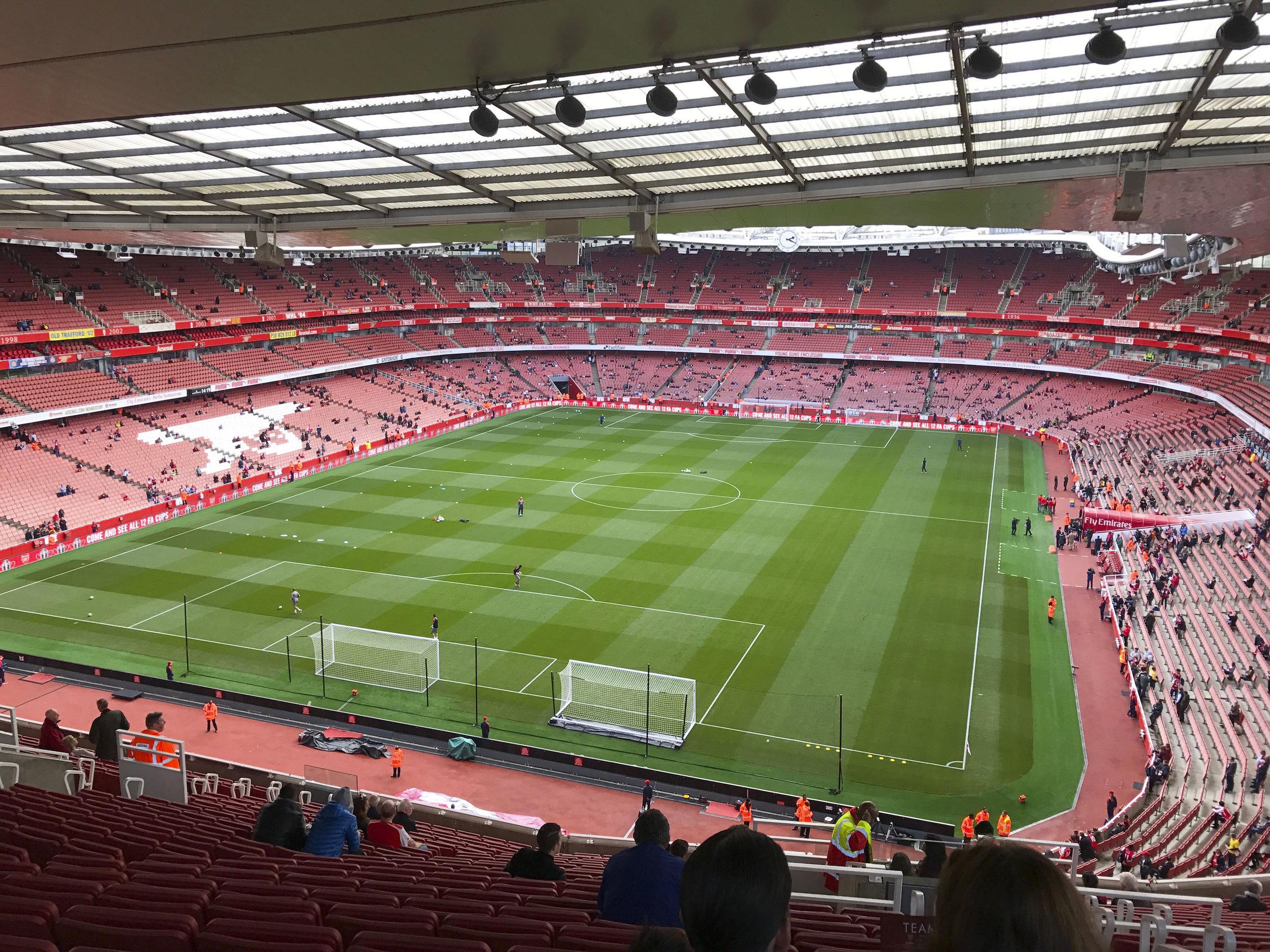The pitch at Emirates Stadium | Arsenal Match | London Itinerary | BySarahRae.com