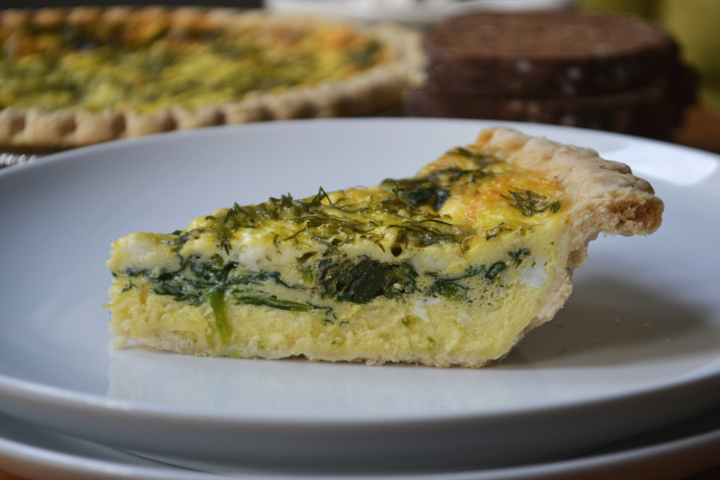 Spring Greens Quiche | Seasonal Recipe | BySarahRae.com