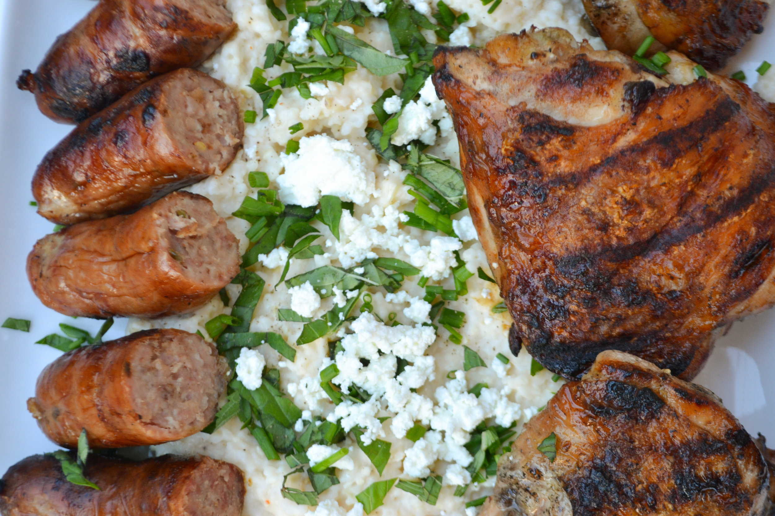 Chicken Thighs, Sausage Goat Cheese Grits Dinner 3