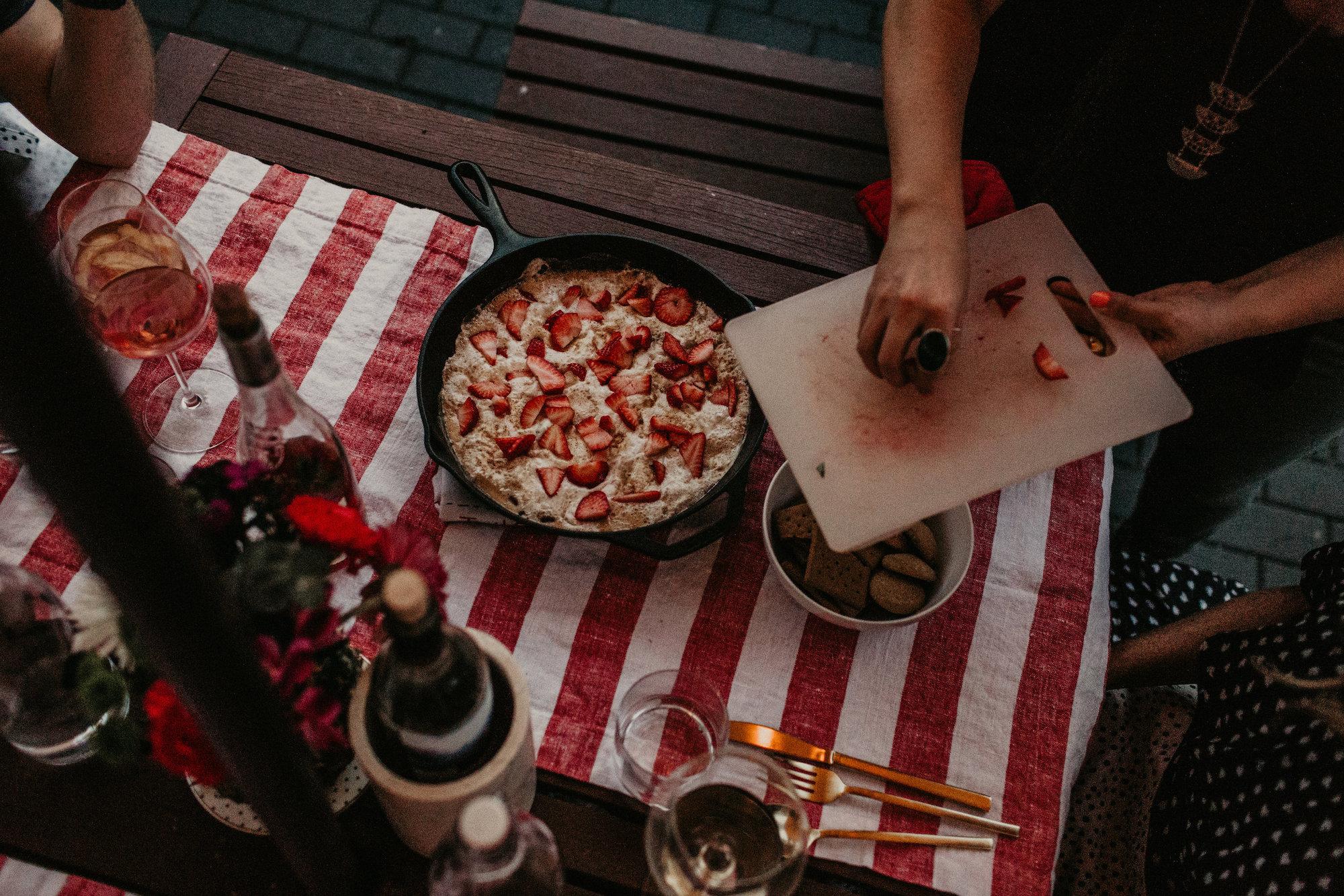 Strawberry Skillet Smotes | Backyard Summer Dinner Party | BySarahRae.com