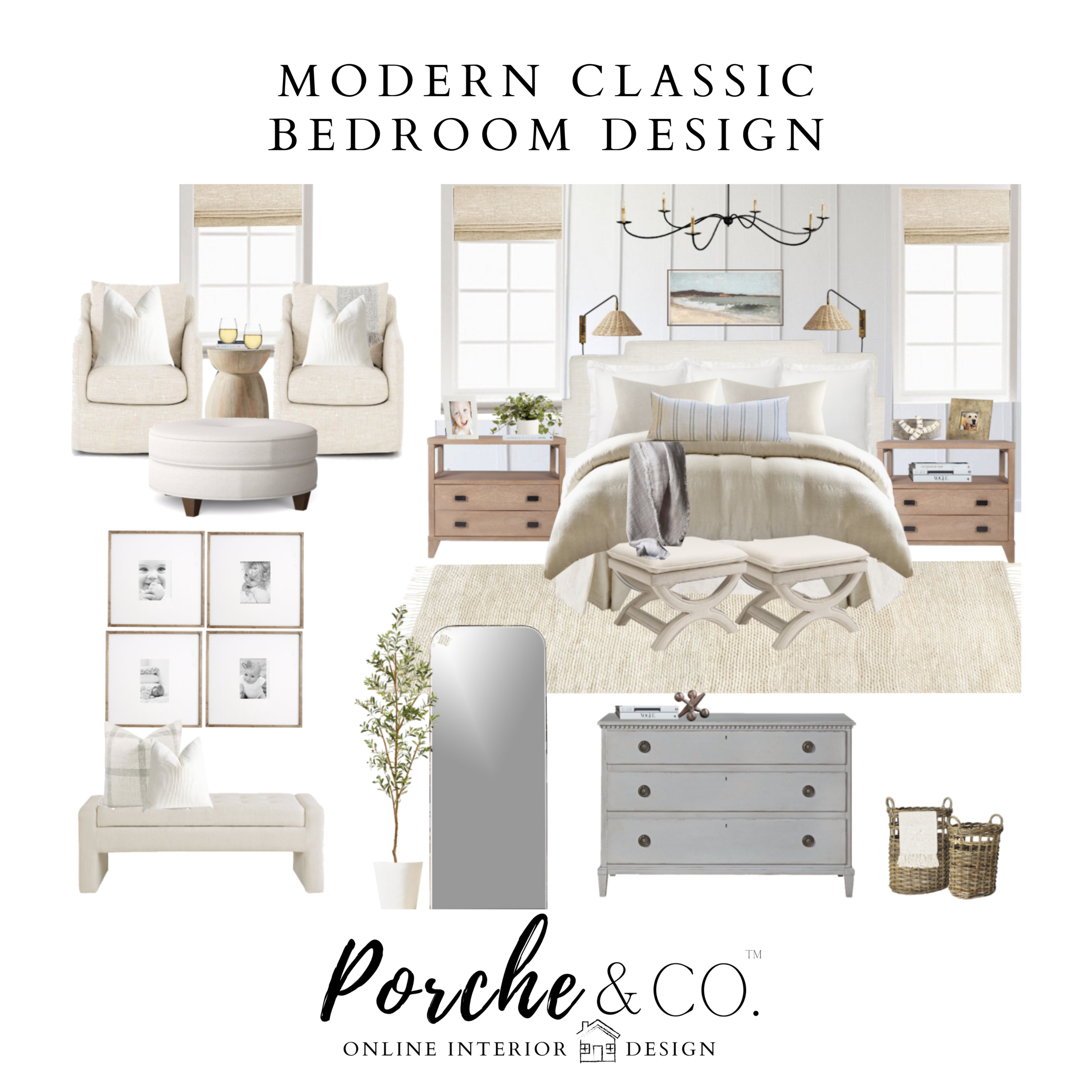 E Design Client Feature Modern Classic Bedroom 2d Vision Board Package Porche Co Porche Co