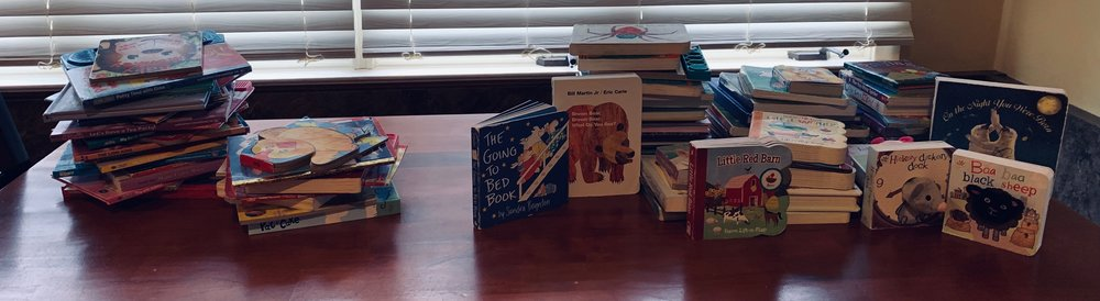 The books to the left are books that we donated. The books to the right I kept for the girls. The books standing up are some of Ava's favorite books to listen to.