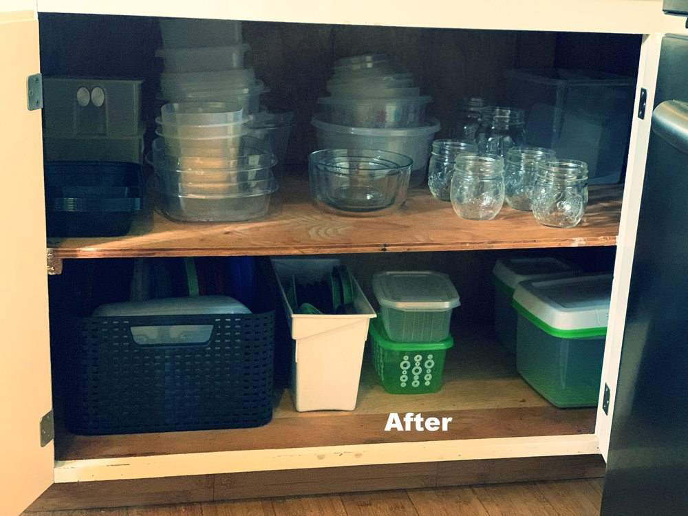 Afterwards  On the bottom, I have lids and containers that I will use for when we have company over.  On the top, I have all the containers and mason jars.