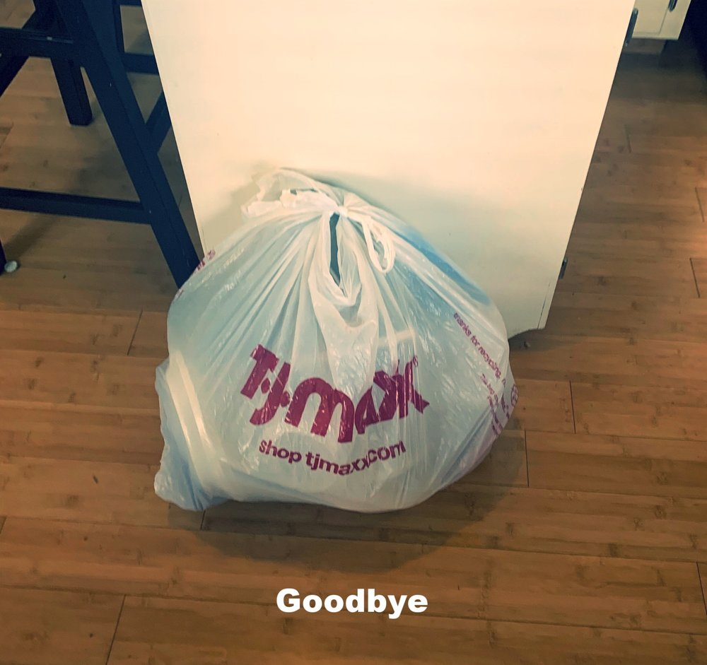 All the containers I got rid of. It feels so good to not have all those containers cluttering up my space. P.S. that was not a small shopping bag at T.J.Maxx