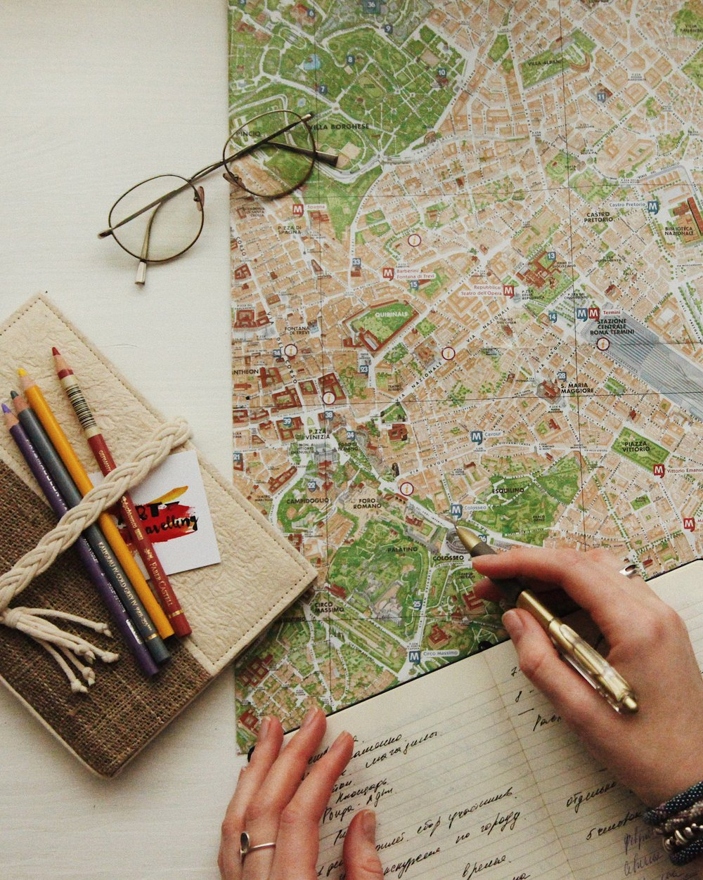 Taking notes on a map. Photo by  oxana v  on  Unsplash