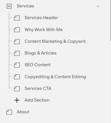 As you can see above, my Services index page serves as a folder for my sub-subpages that detail each service. The About page is on the same level as the Services index when it comes to my site structure.