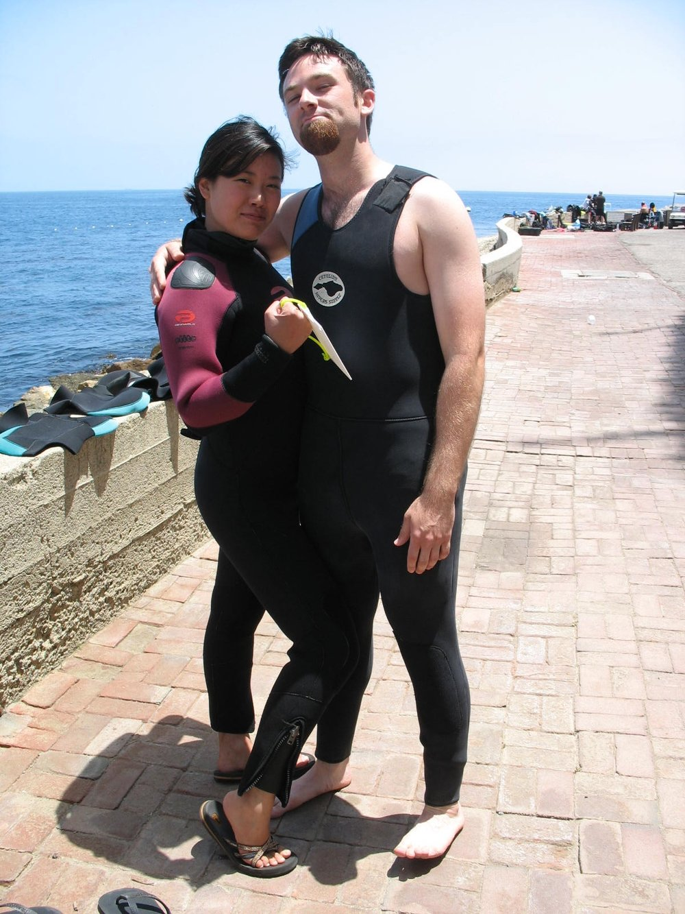Will and the wifey strike a pose on Catalina Island getting ready for a dive.